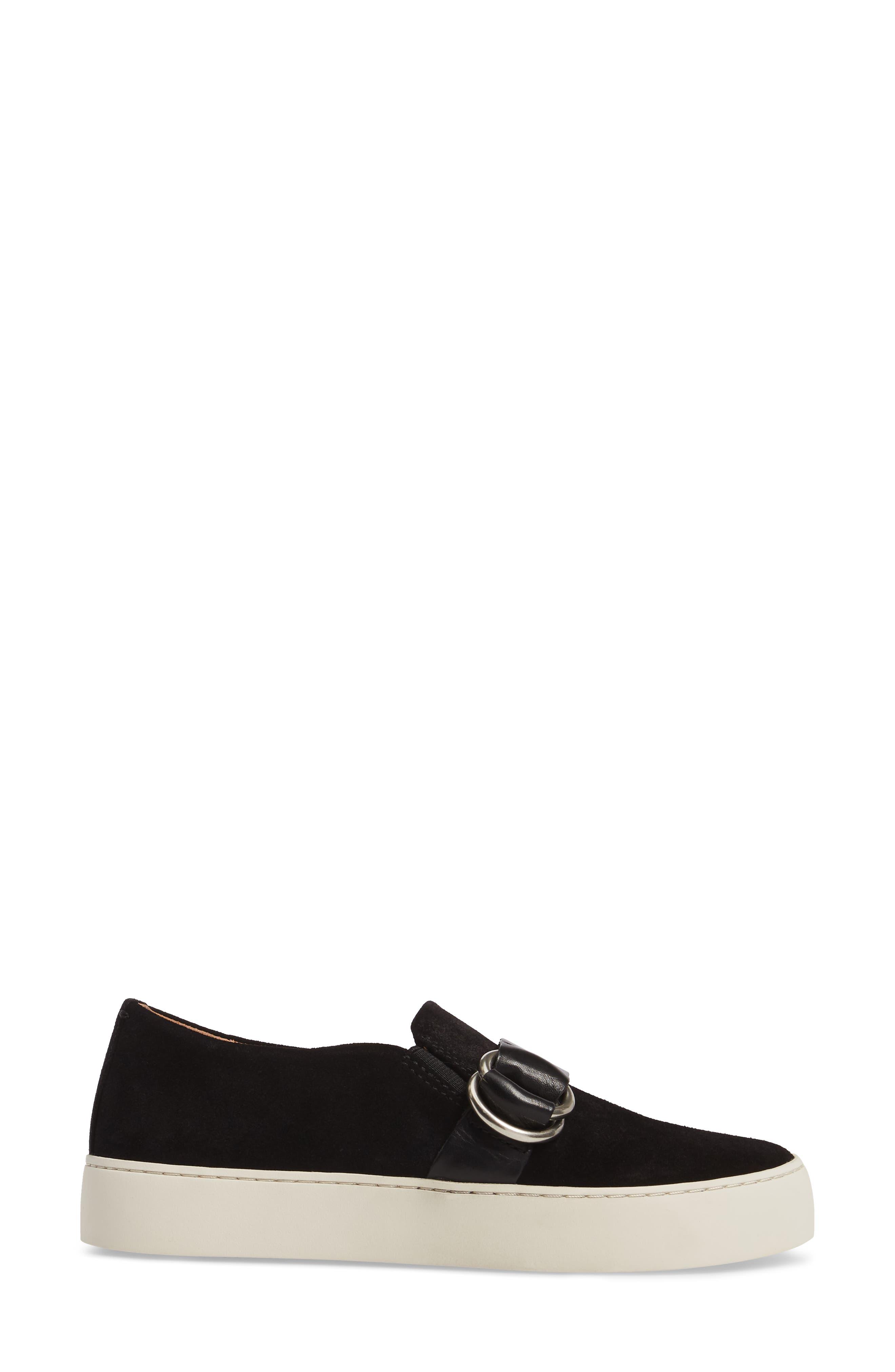 Lena Harness Slip-On Sneaker,                             Alternate thumbnail 3, color,                             Black