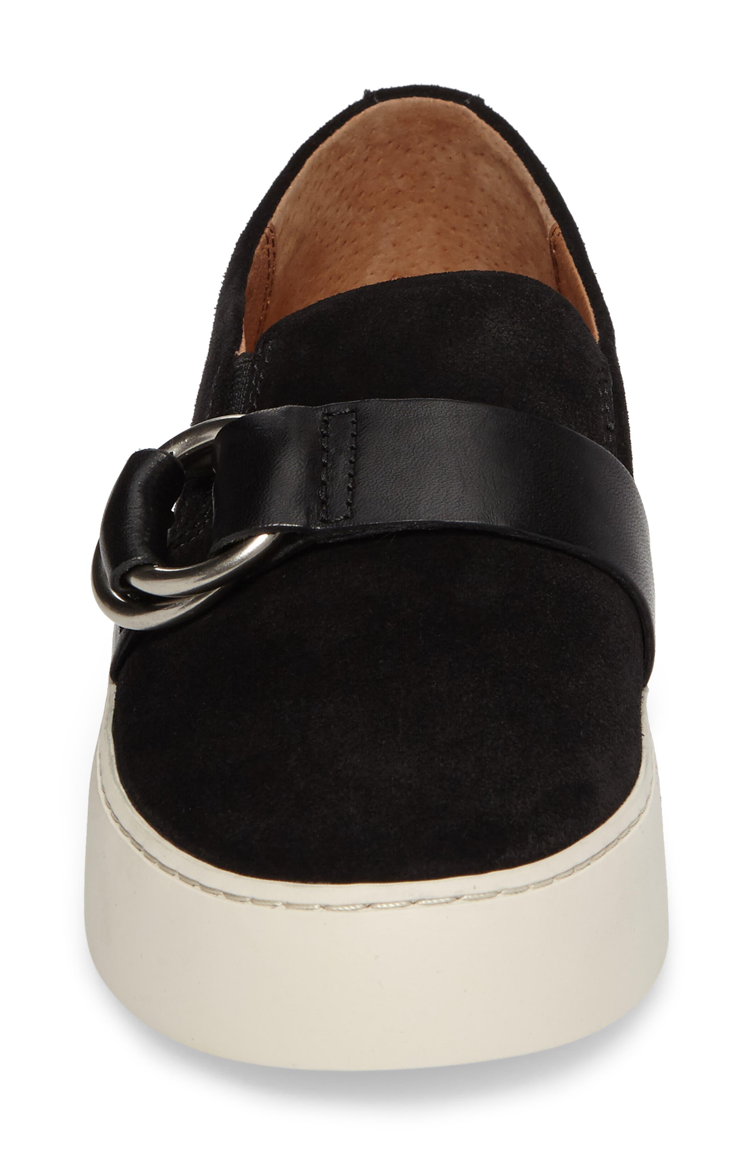 Lena Harness Slip-On Sneaker,                             Alternate thumbnail 4, color,                             Black