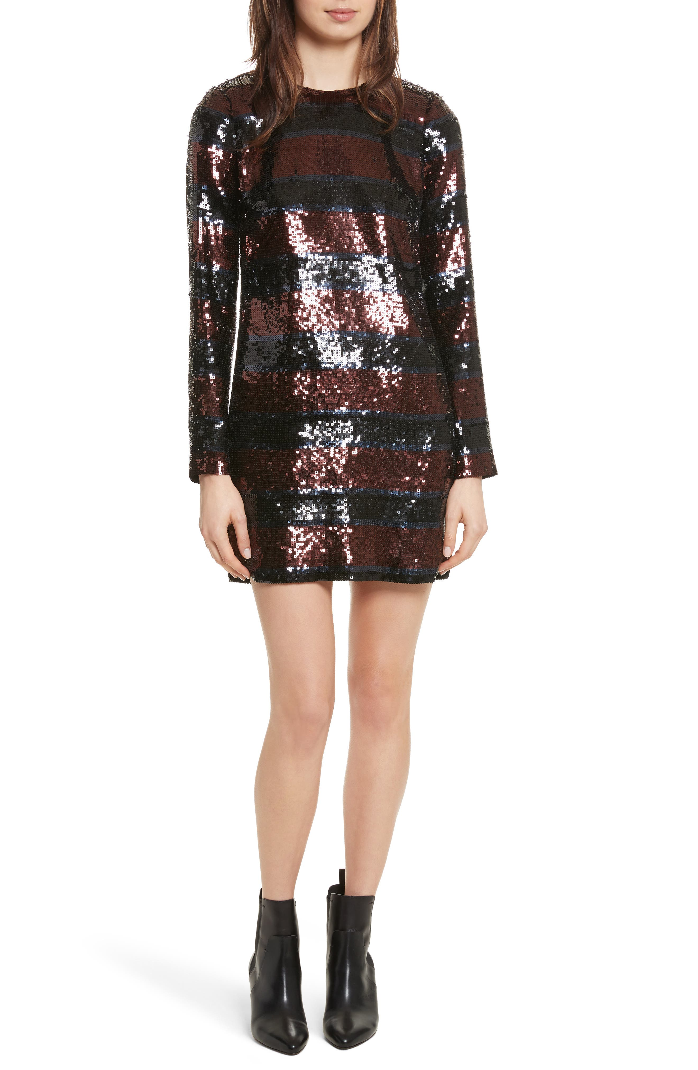 Breakers Sequin Dress,                             Main thumbnail 1, color,                             Dark Red/ Black