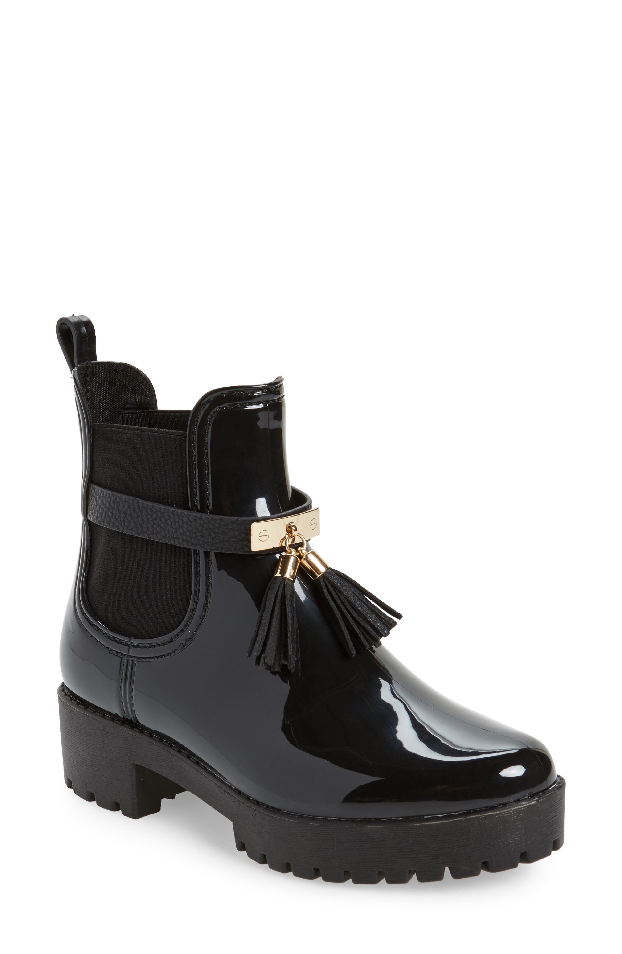 Leeds Tassel Waterproof Chelsea Boot,                             Main thumbnail 1, color,                             Black