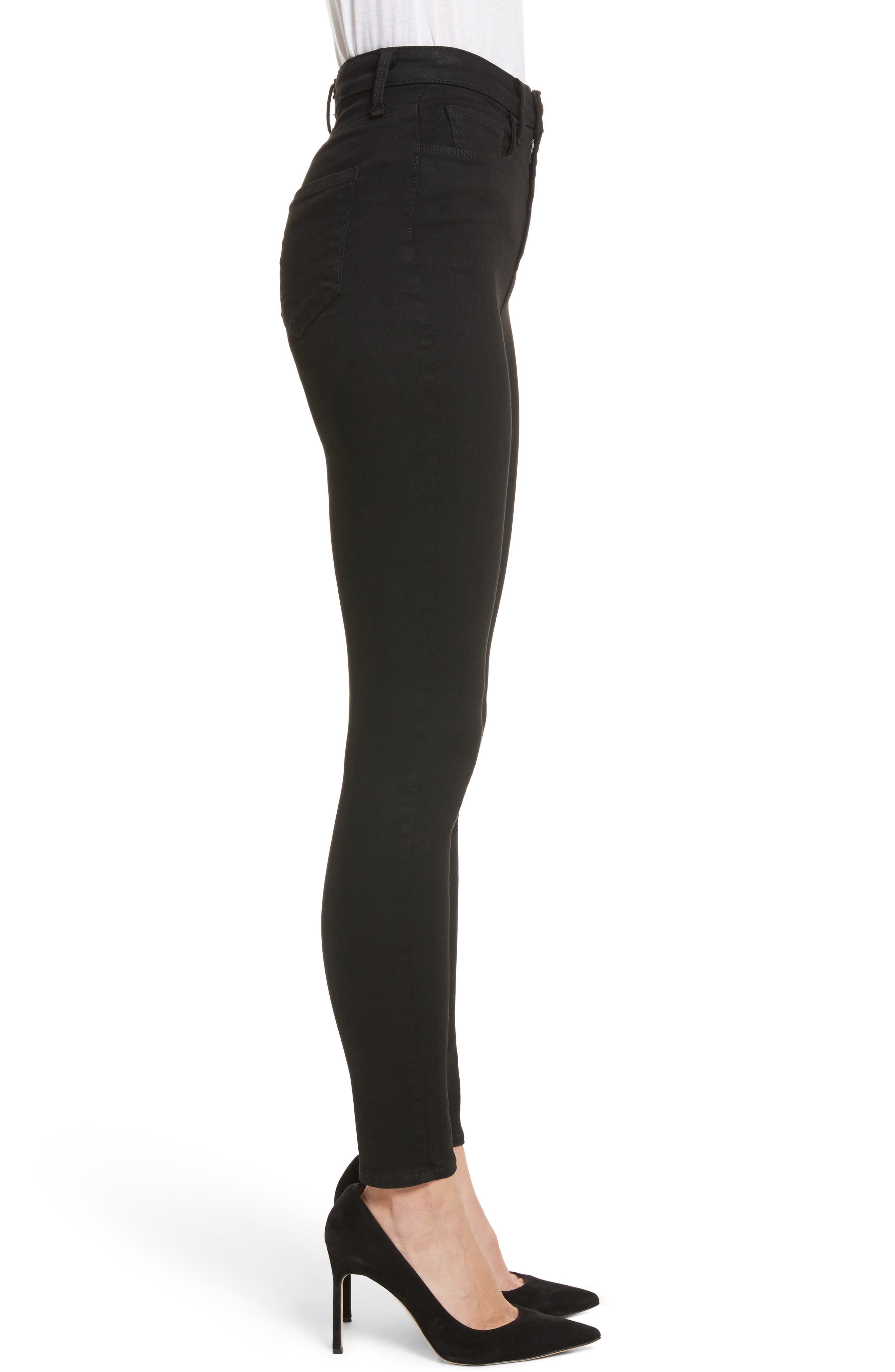 Katrina Ultra High Waist Skinny Jeans,                             Alternate thumbnail 3, color,                             Noir