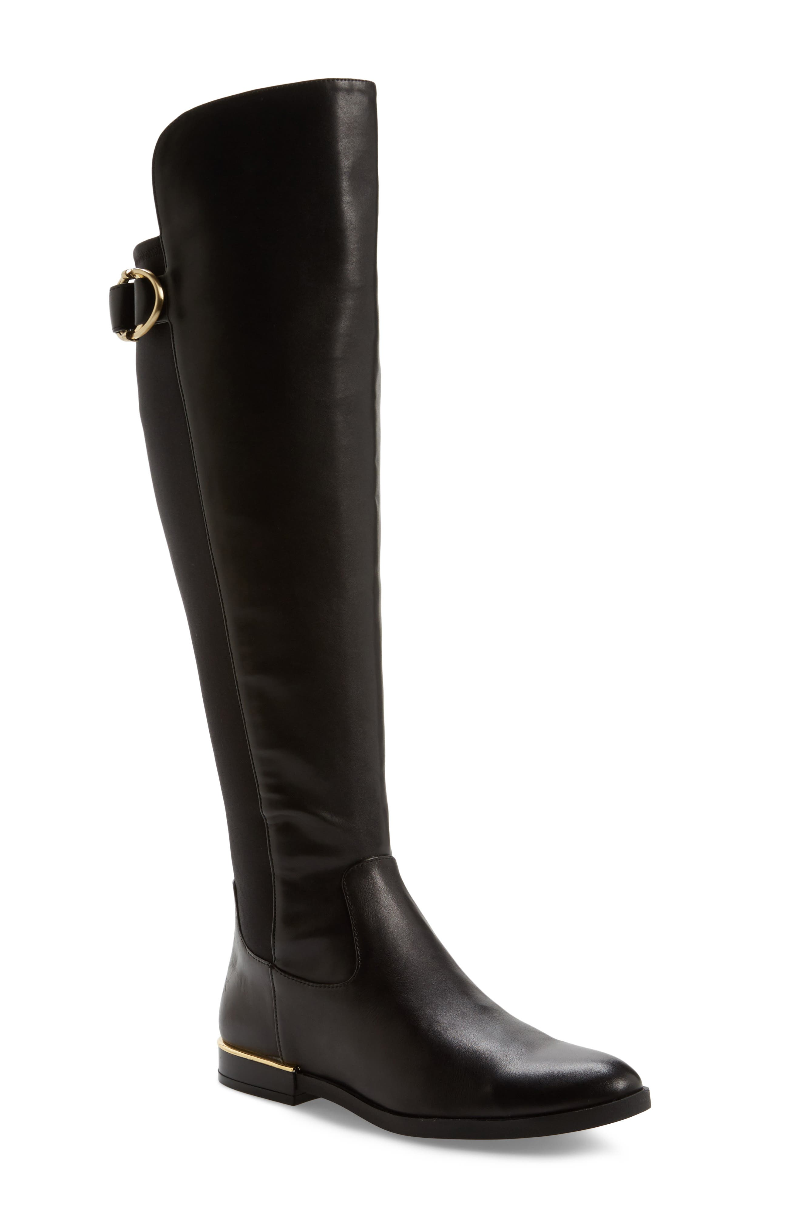 Priscila Over the Knee Boot,                             Main thumbnail 1, color,                             Black Leather