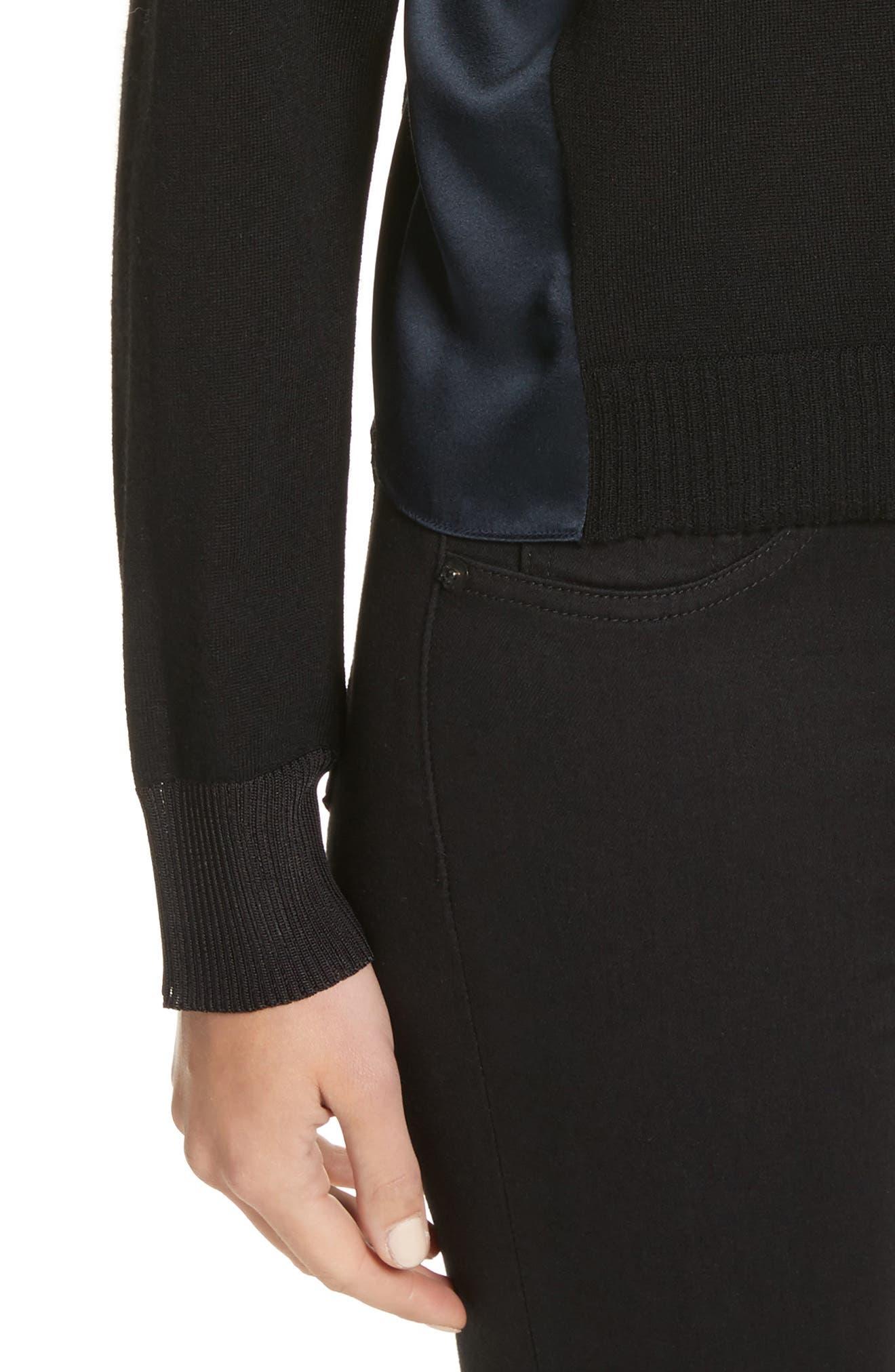 Sadie Merino Wool Blend & Silk Sweater,                             Alternate thumbnail 5, color,                             Black