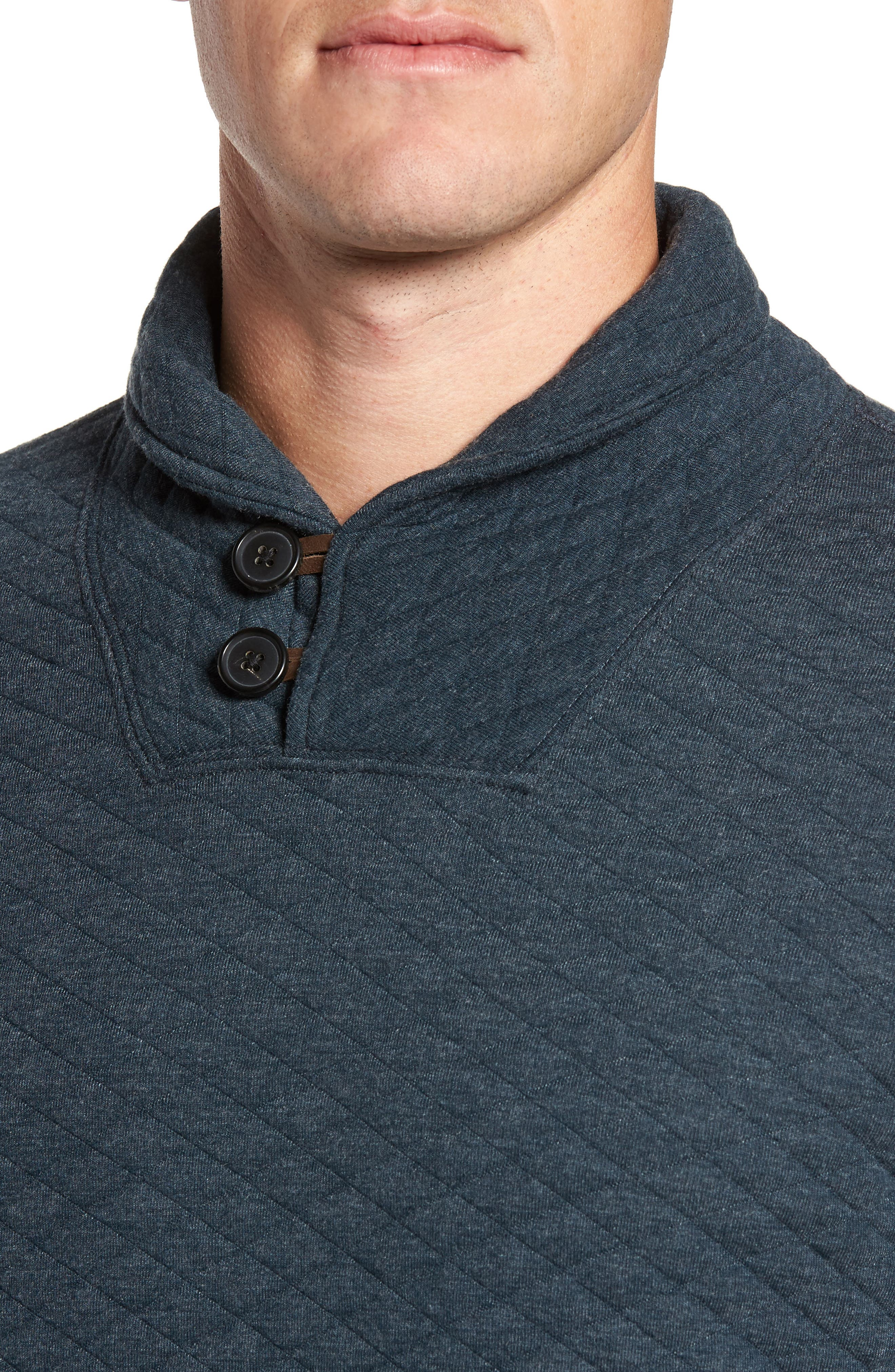 Shawl Collar Pullover,                             Alternate thumbnail 4, color,                             Carbon Blue