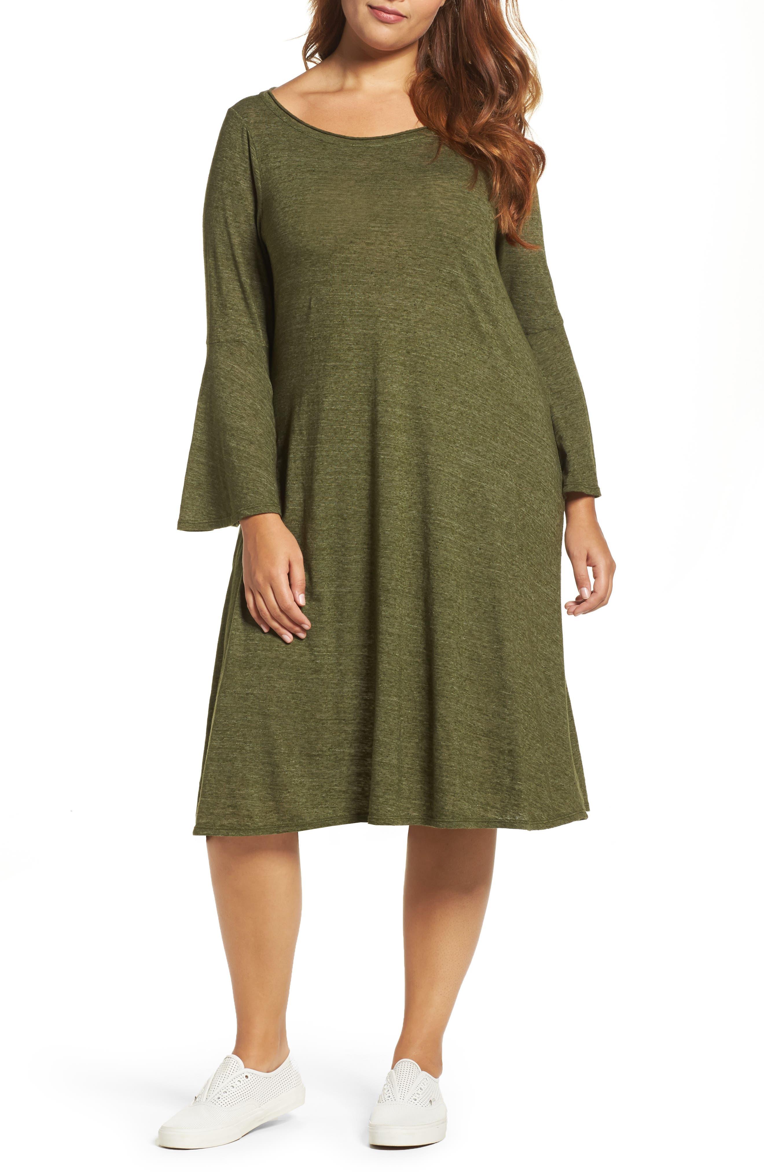 Three Dots Nepps Bell Sleeve Dress (Plus Size)