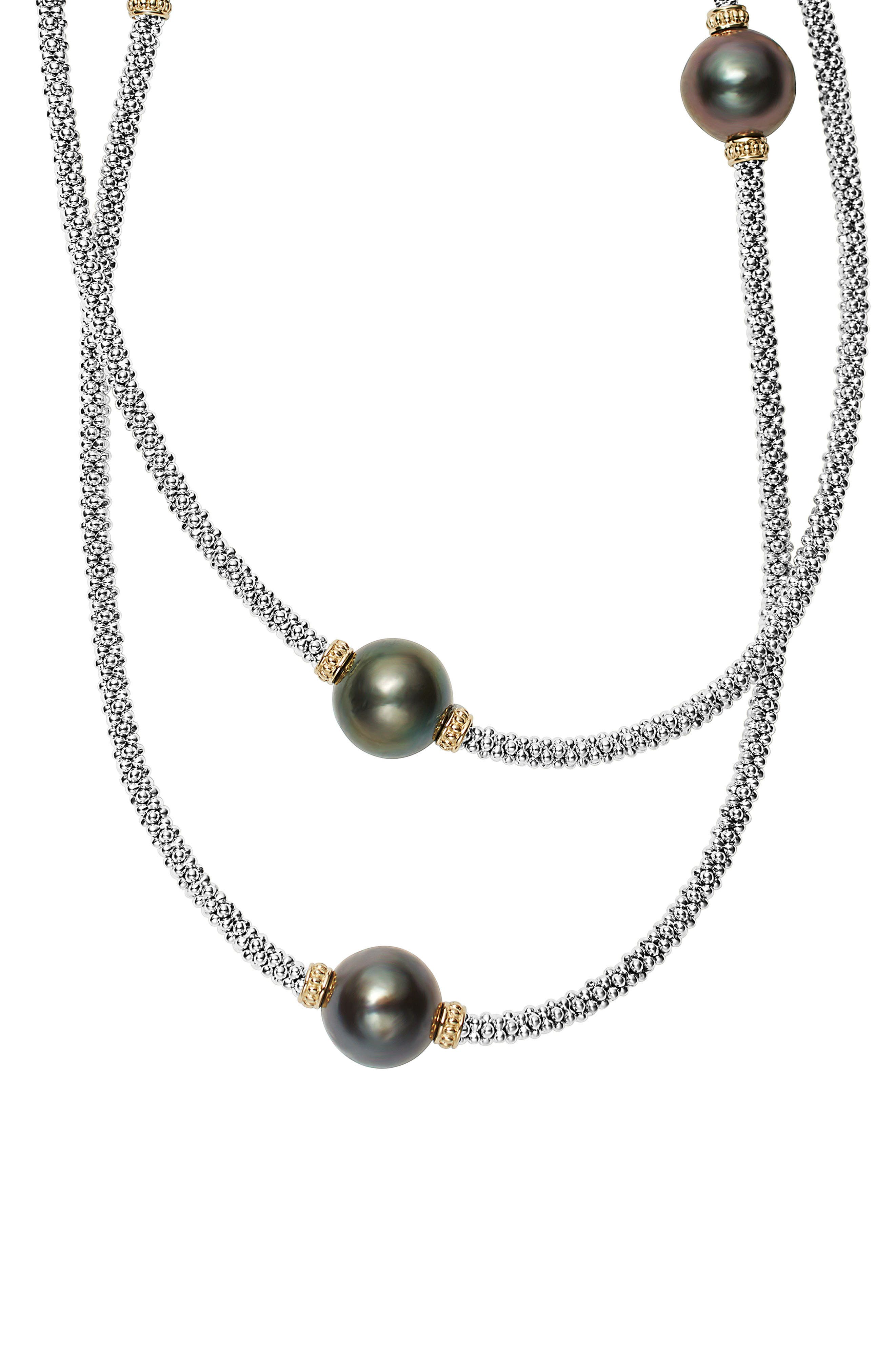 Lagos Luna Long Pearl Station Necklace
