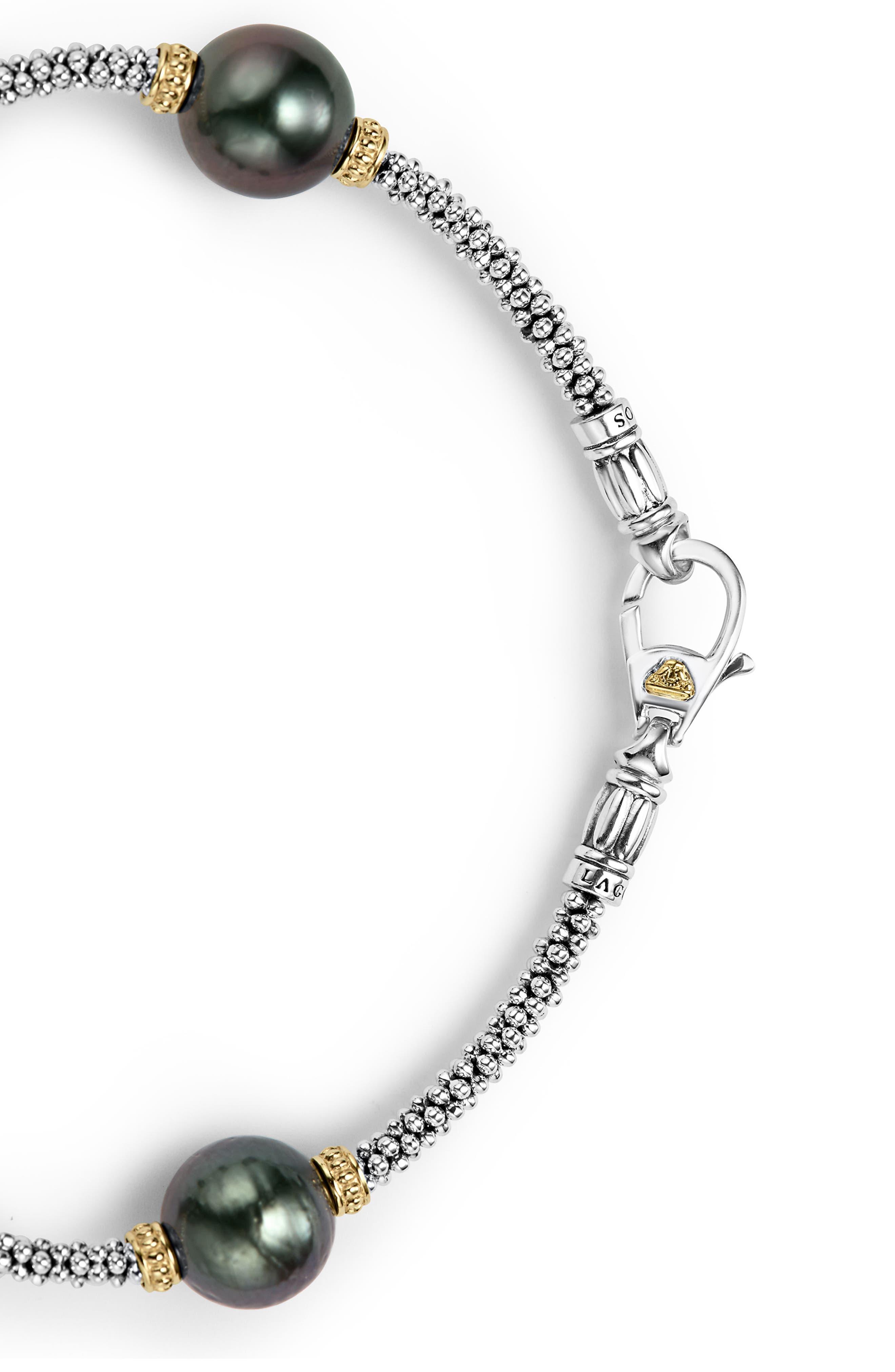 Luna Pearl Rope Bracelet,                             Alternate thumbnail 3, color,                             Black Pearl