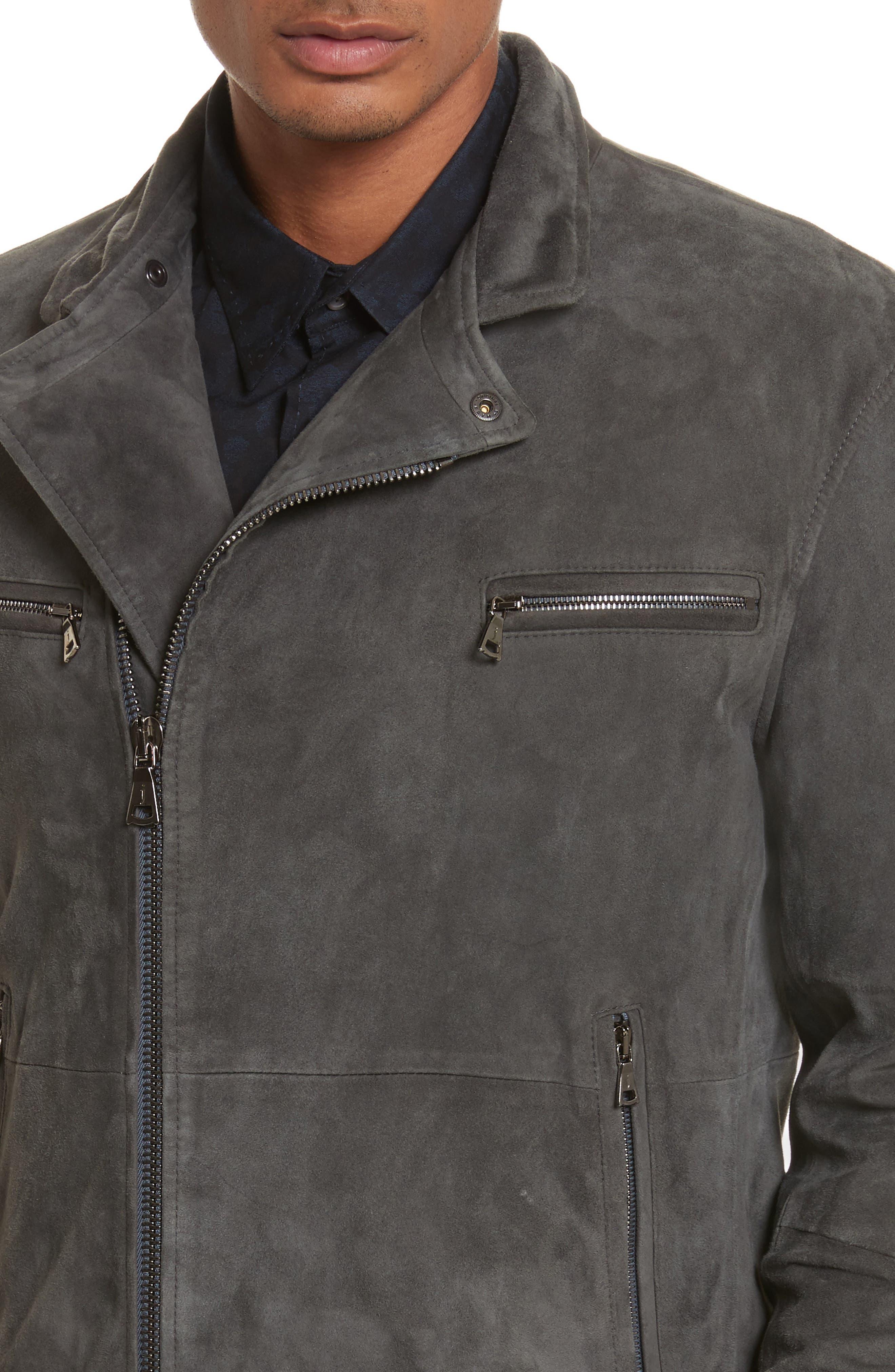 John Varvatos Suede Moto Jacket,                             Alternate thumbnail 4, color,                             Typhon Grey
