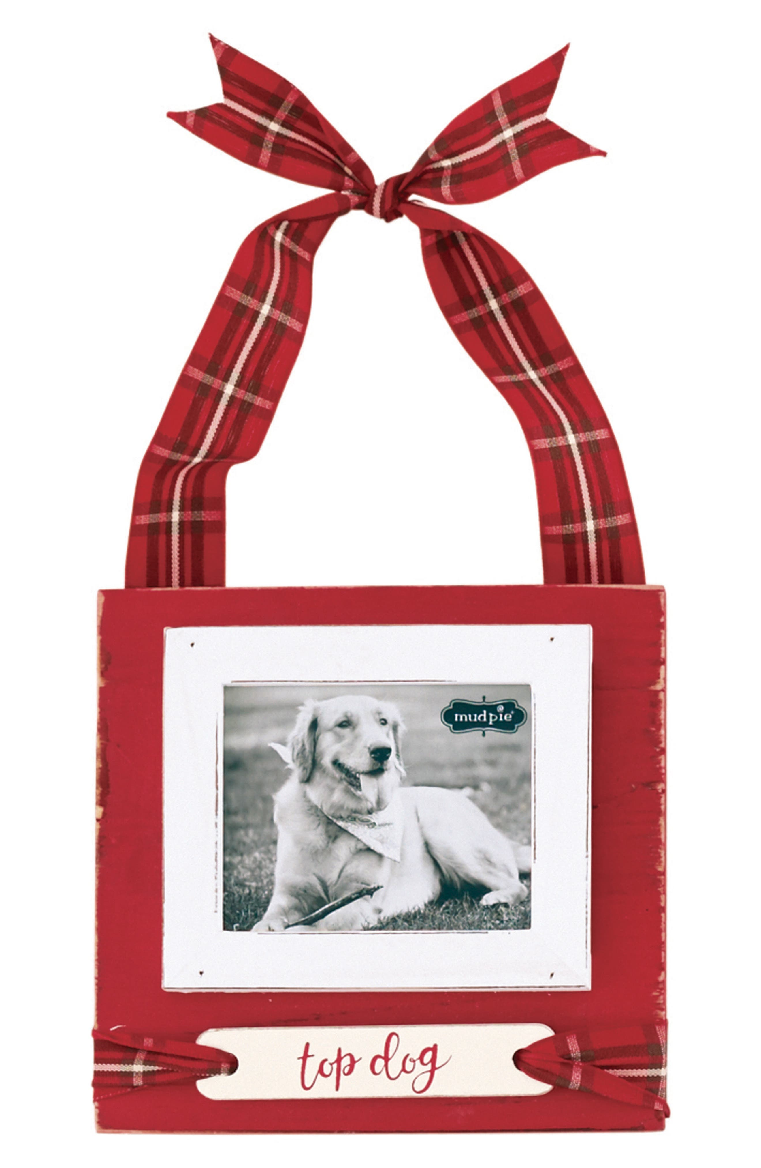 Top Dog Frame Ornament,                         Main,                         color, White/ Red