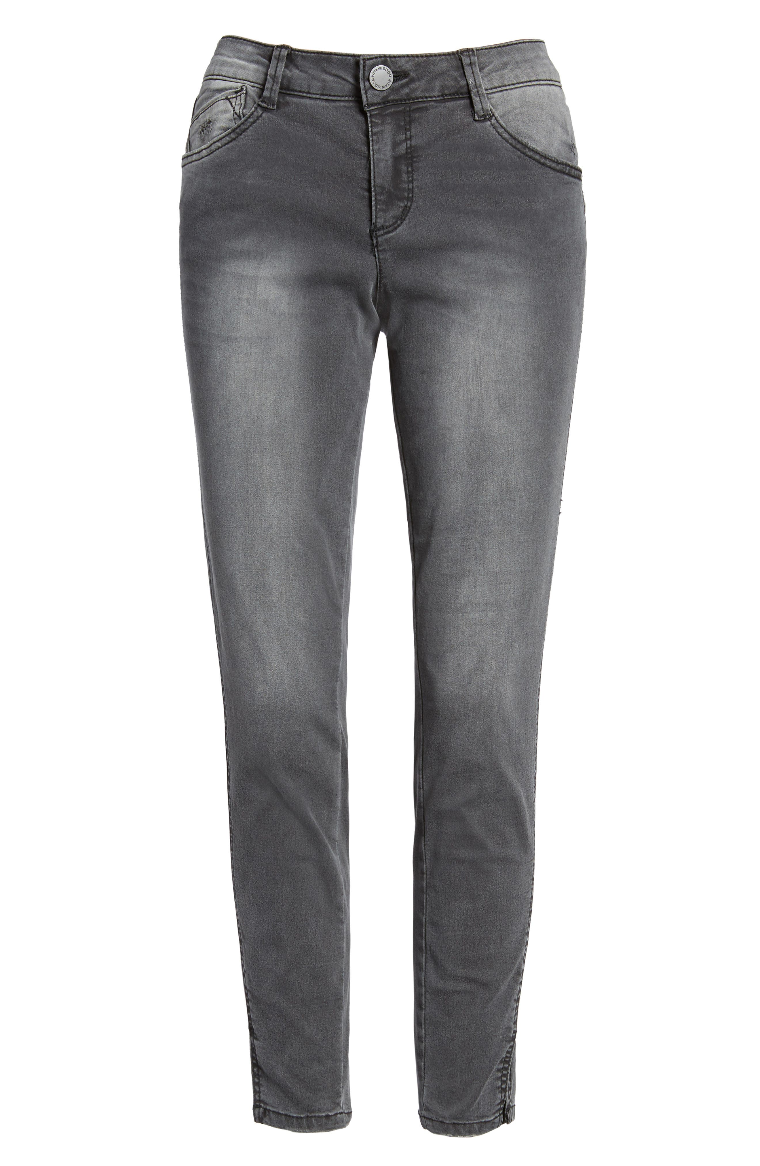 Slit Skinny Ankle Jeans,                             Alternate thumbnail 6, color,                             Grey
