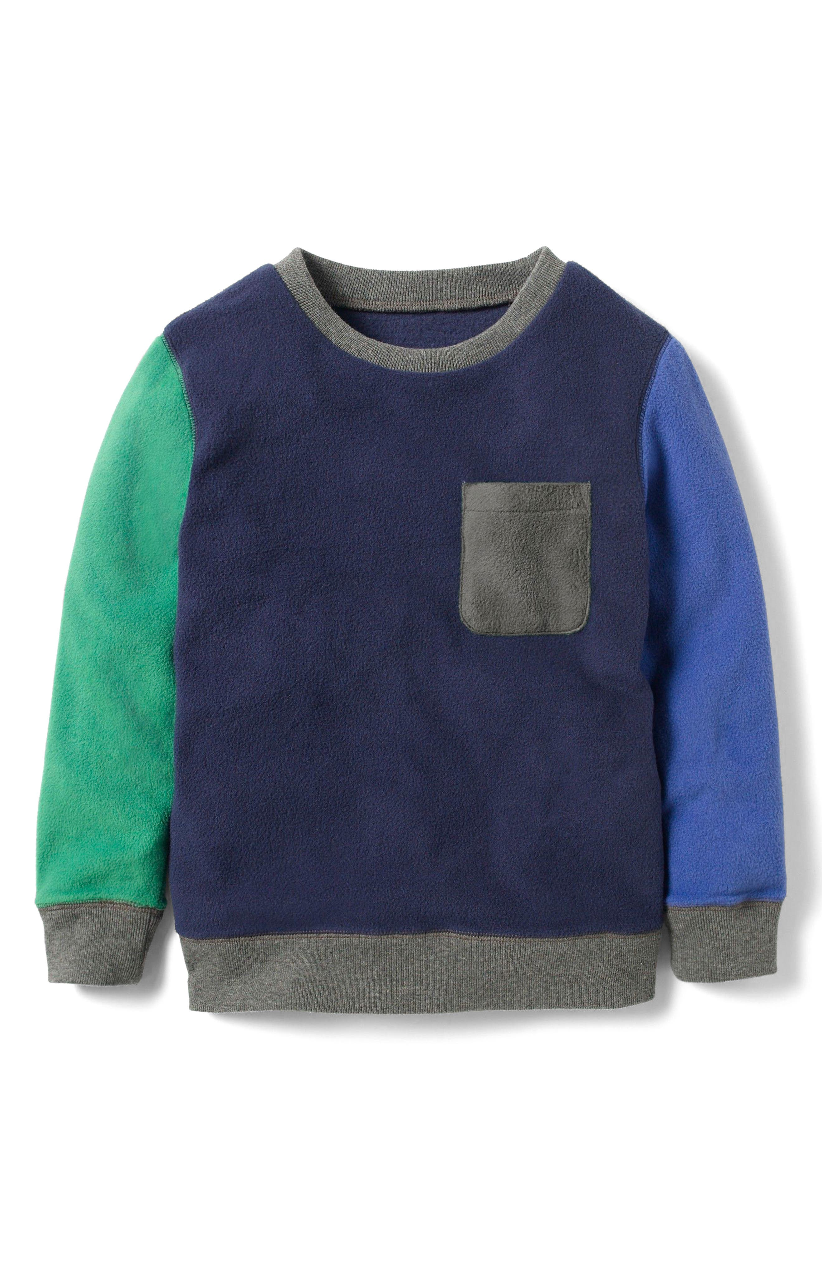 Main Image - Mini Boden Colorblock Fleece Sweatshirt (Toddler Boys, Little Boys & Big Boys)