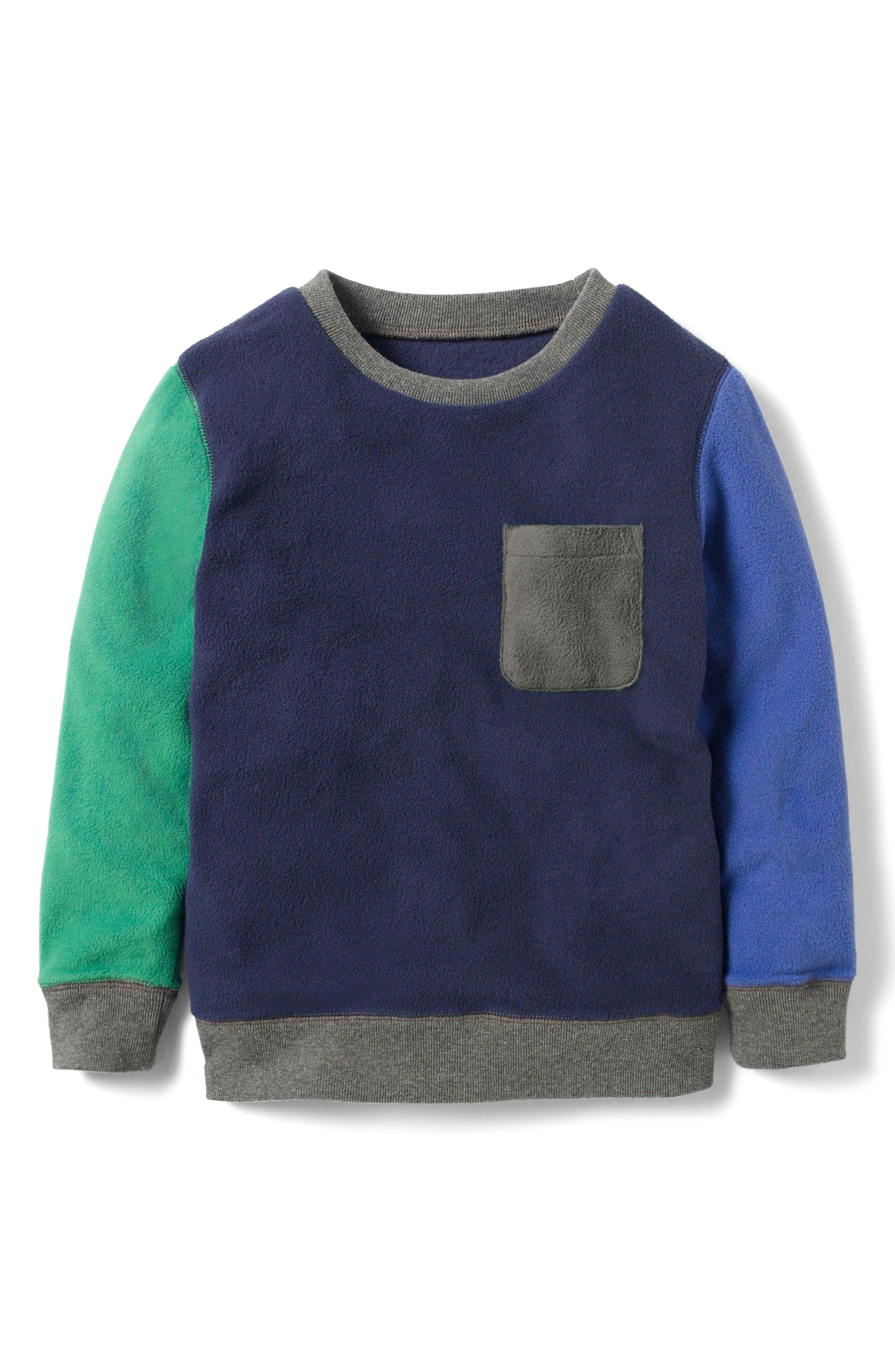 Mini Boden Colorblock Fleece Sweatshirt (Toddler Boys, Little Boys & Big Boys)