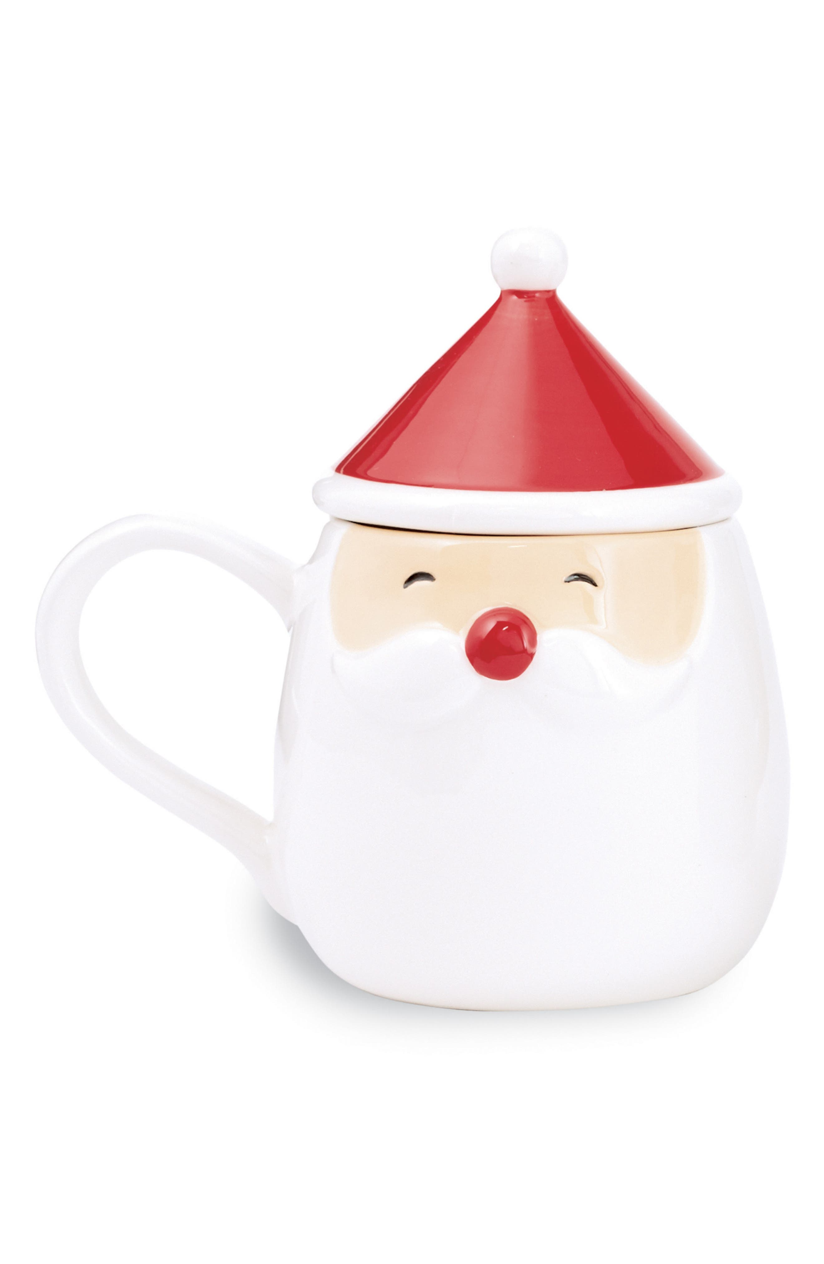 Santa Ceramic Mug & Lid,                         Main,                         color, White