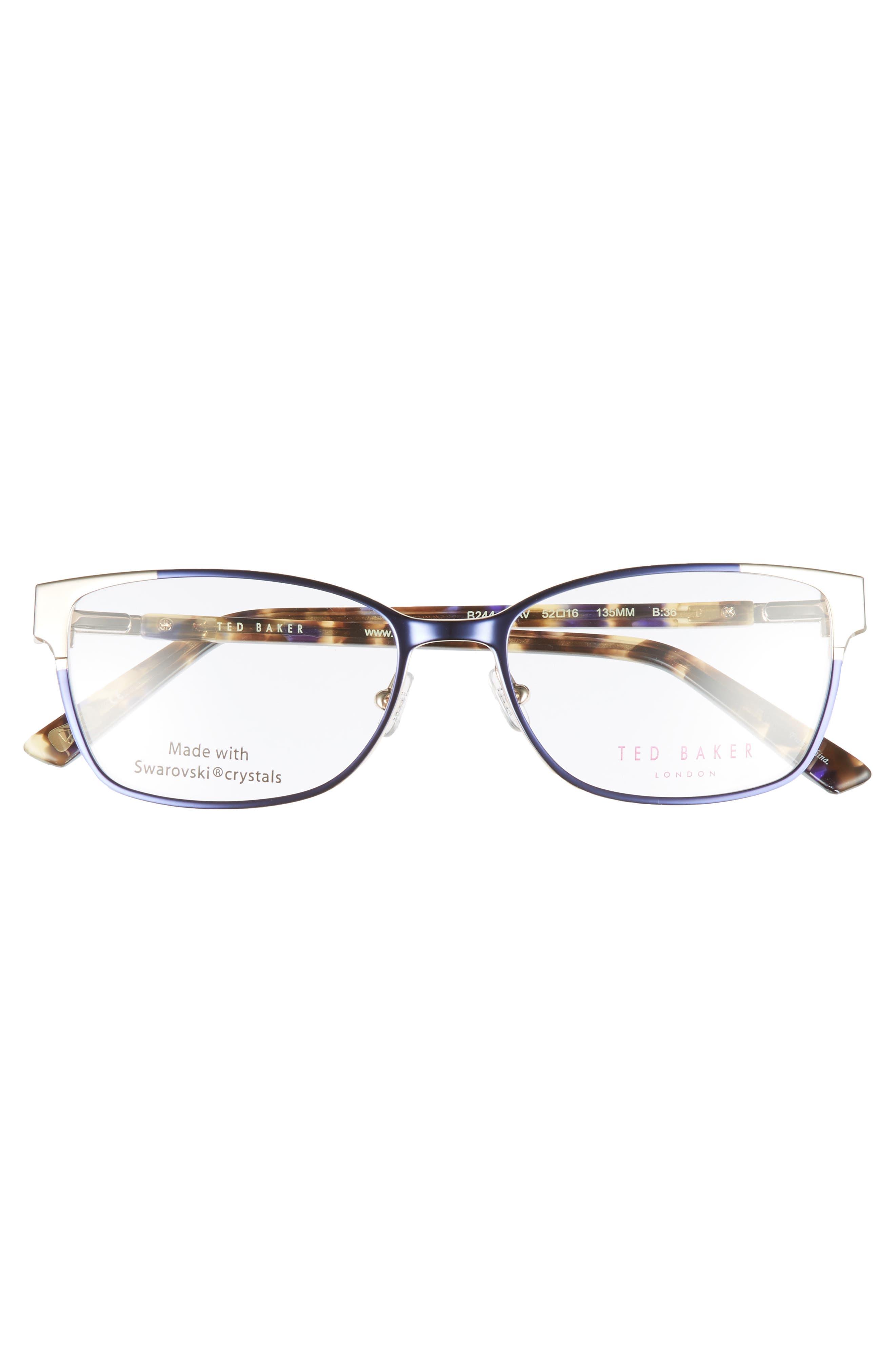 52mm Crystal Rectangular Optical Glasses,                             Alternate thumbnail 3, color,                             Blue