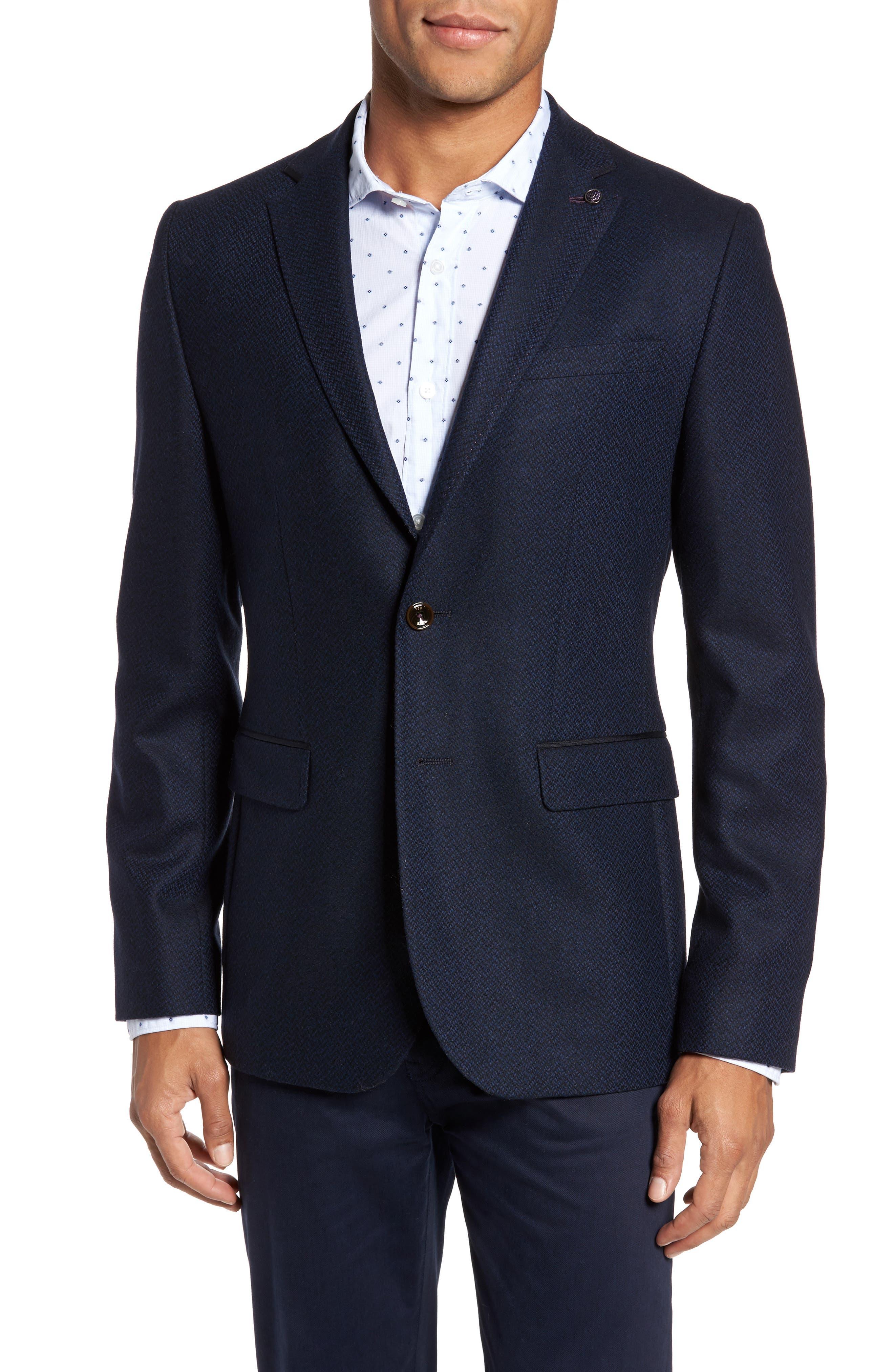 Modern Slim Fit Herringbone Blazer,                         Main,                         color, Navy