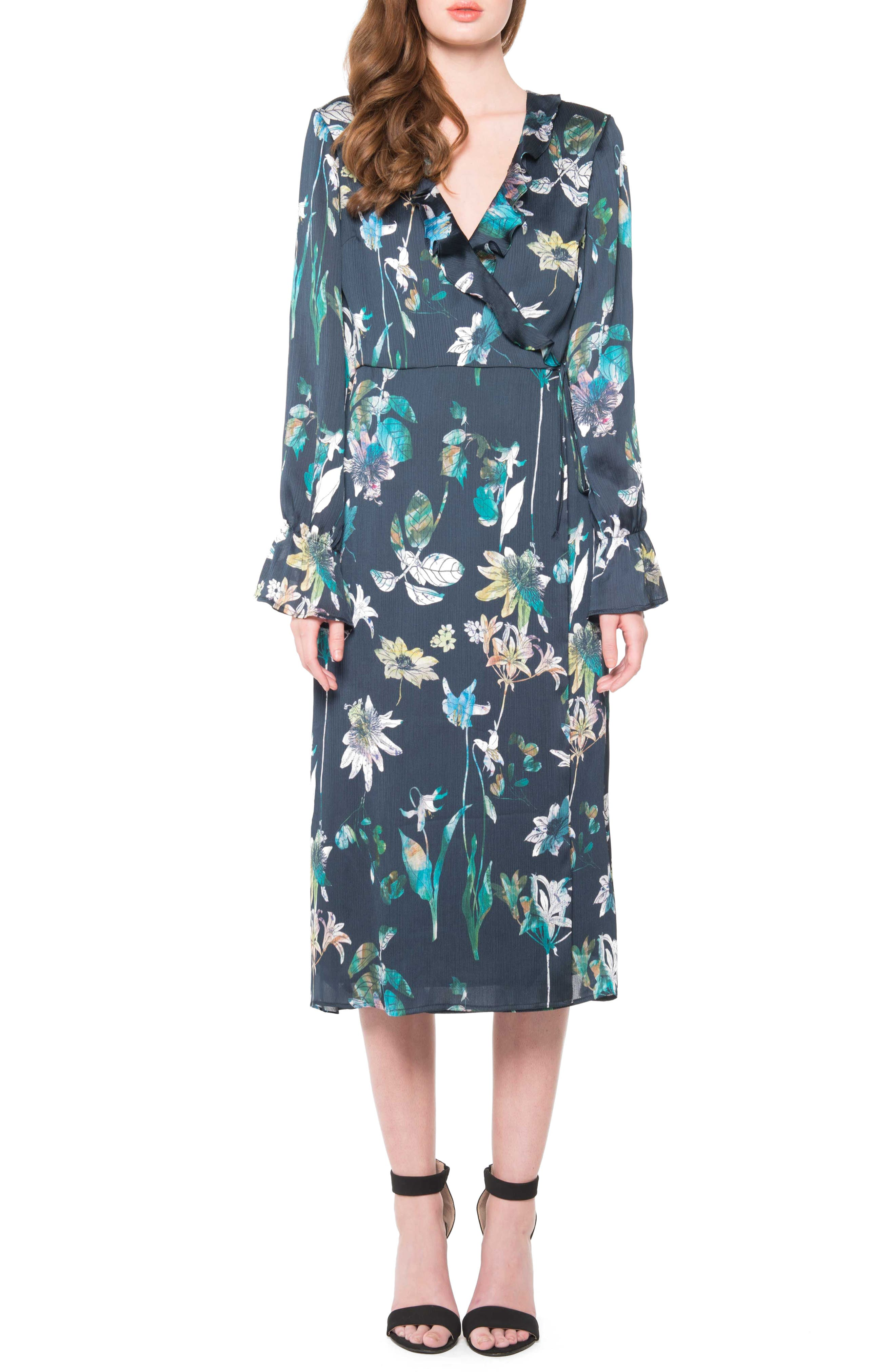 Floral Wrap Dress,                         Main,                         color, Navy