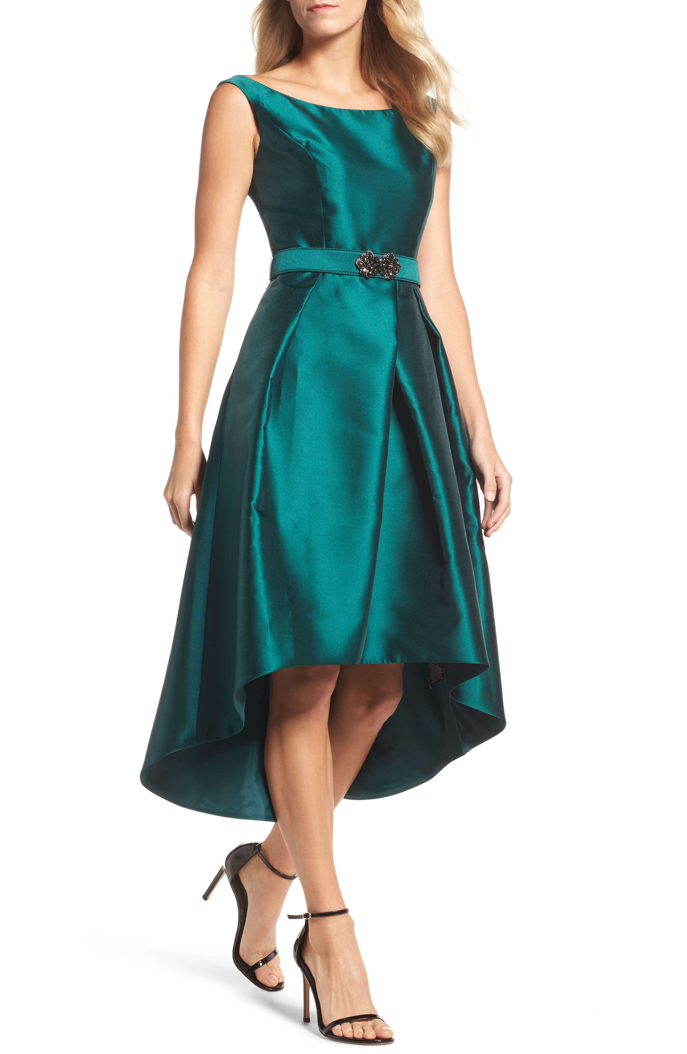 Embellished High/Low Dress,                             Main thumbnail 1, color,                             Emerald