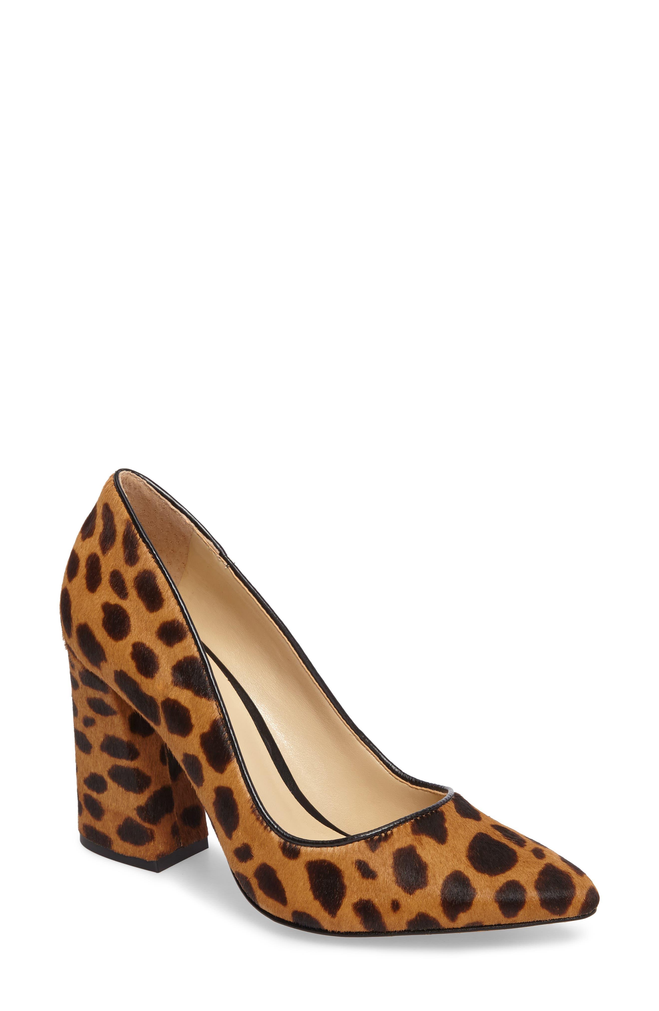 Talise Genuine Calf Hair Pointy Toe Pump,                             Main thumbnail 1, color,                             Leopard Brown