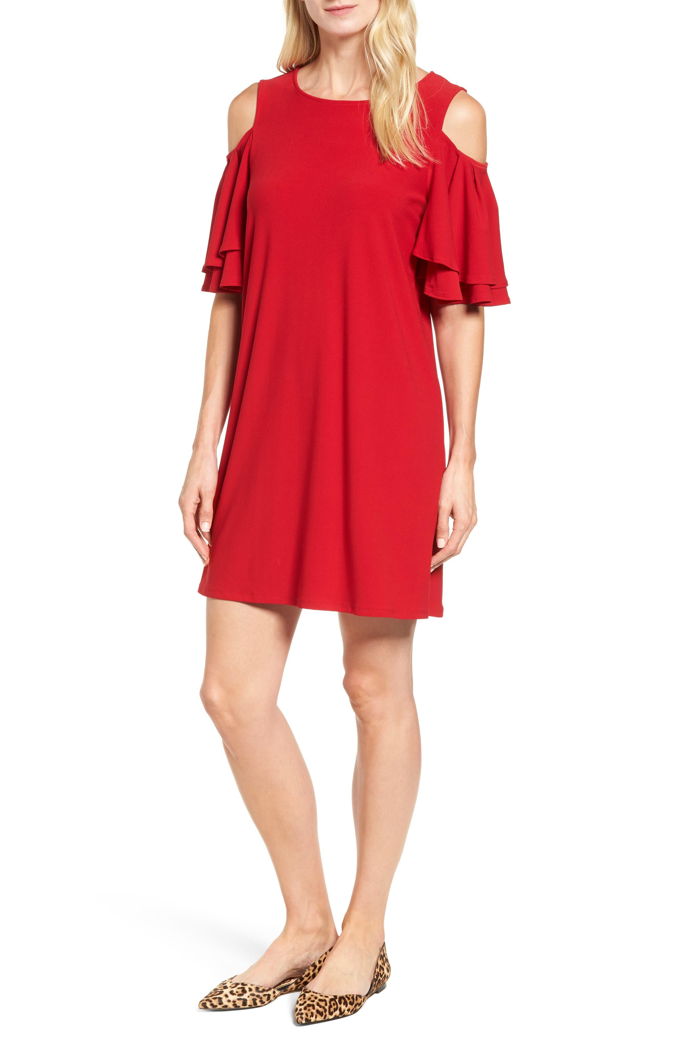 Cold Shoulder Shift Dress,                         Main,                         color, Red