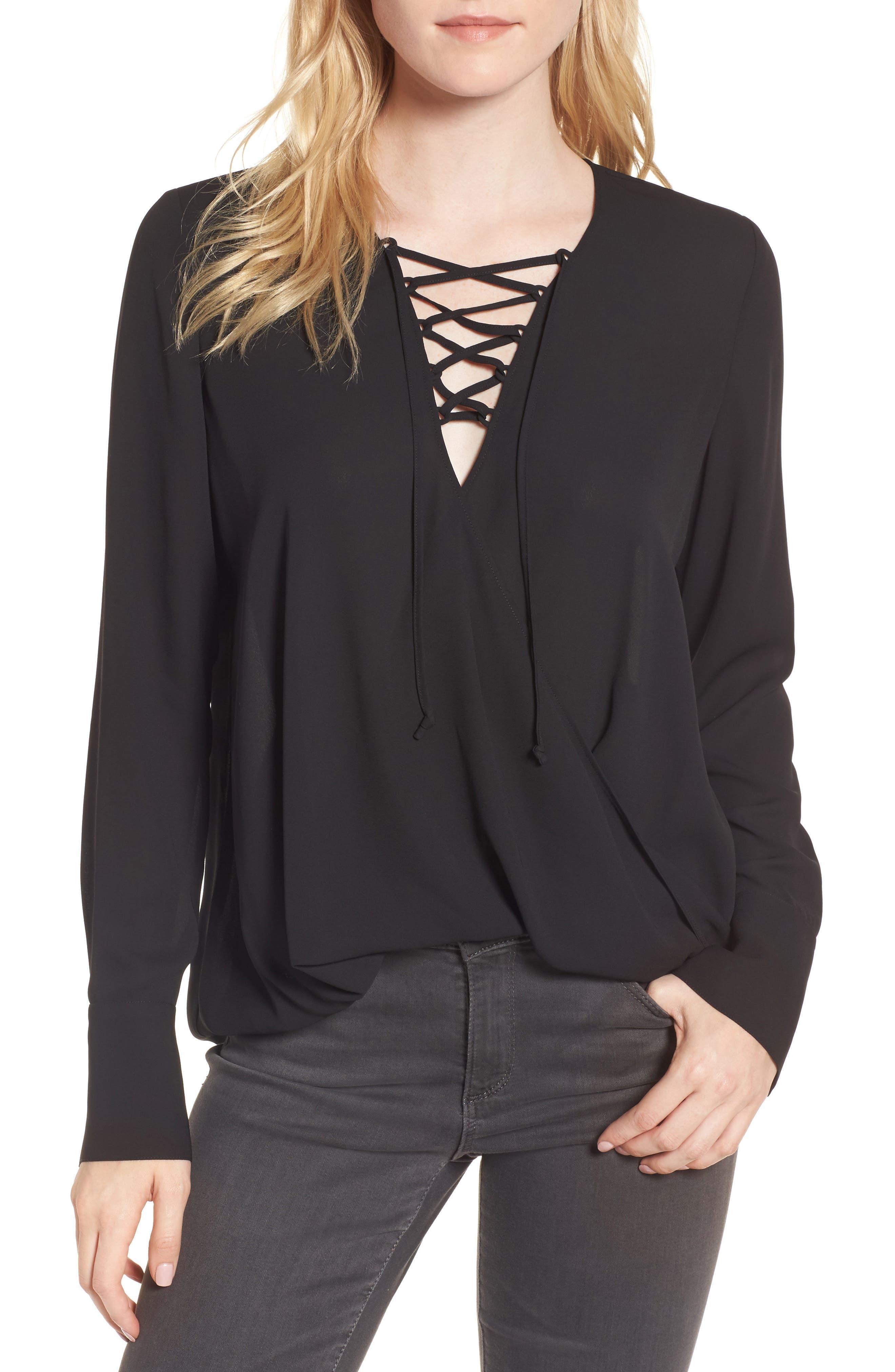 Lace-Up Top,                         Main,                         color, Black