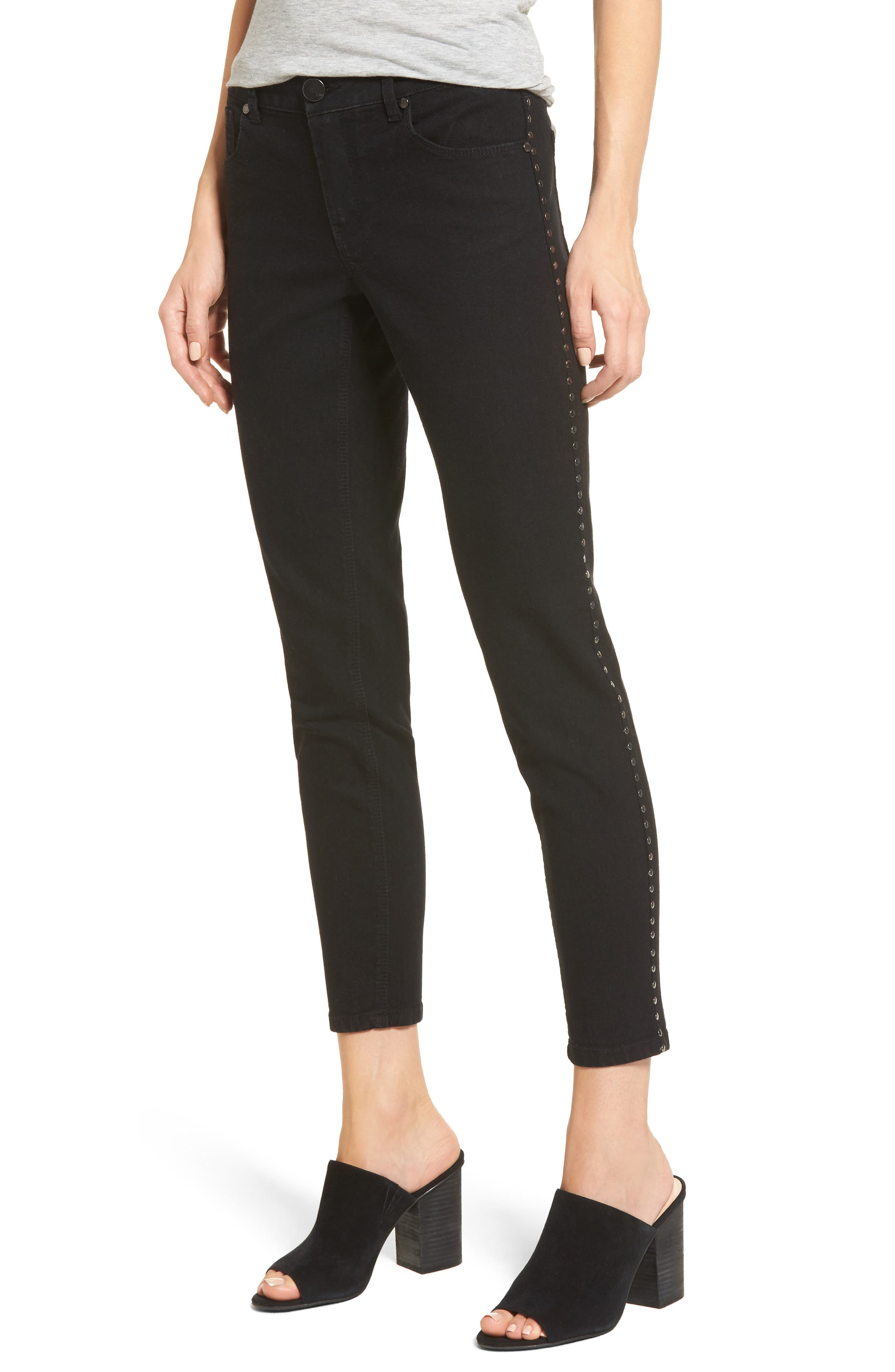 Studded Skinny Jeans,                         Main,                         color, Black