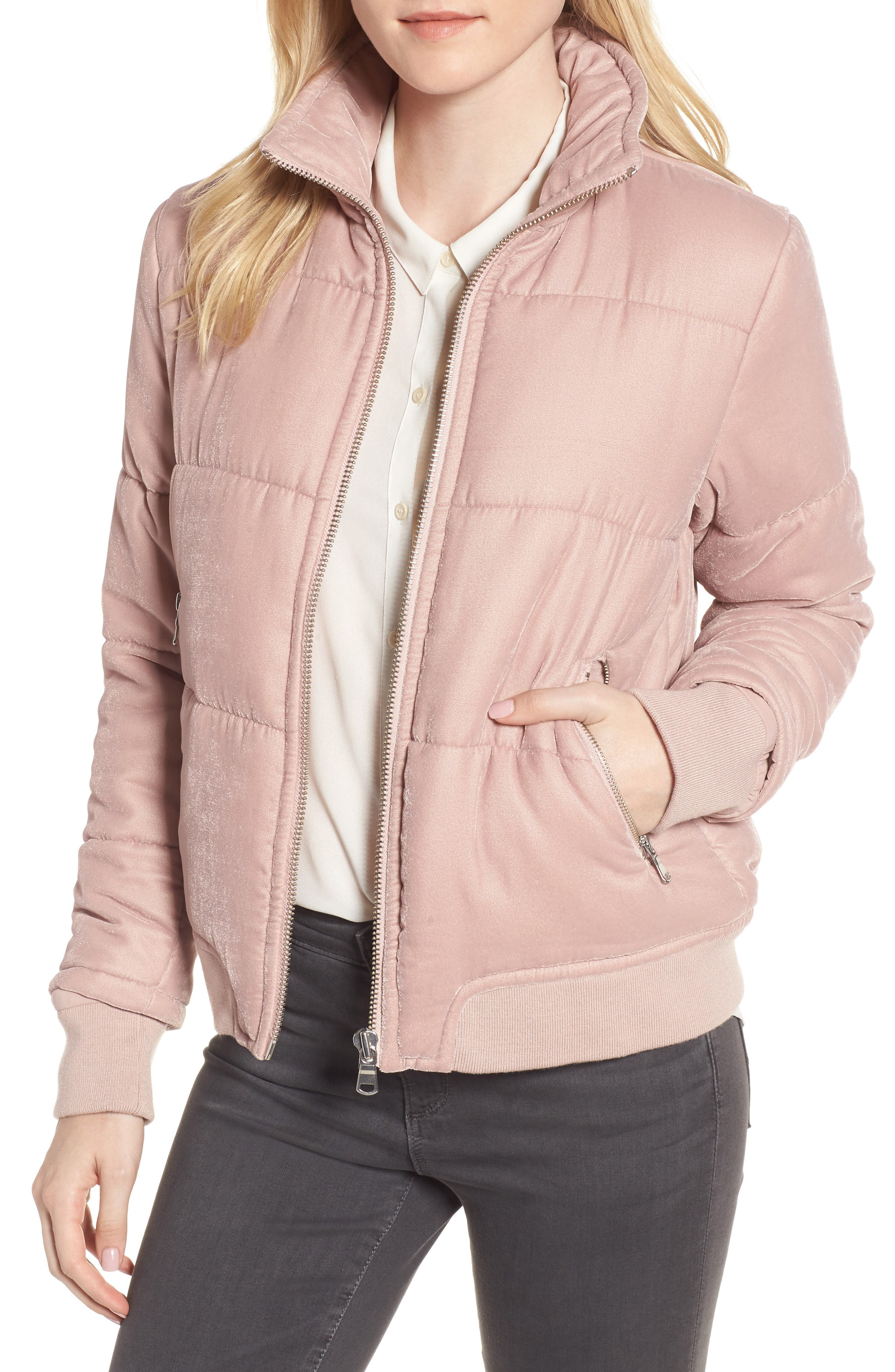 Quilted Velvet Jacket,                             Main thumbnail 1, color,                             Pink Adobe