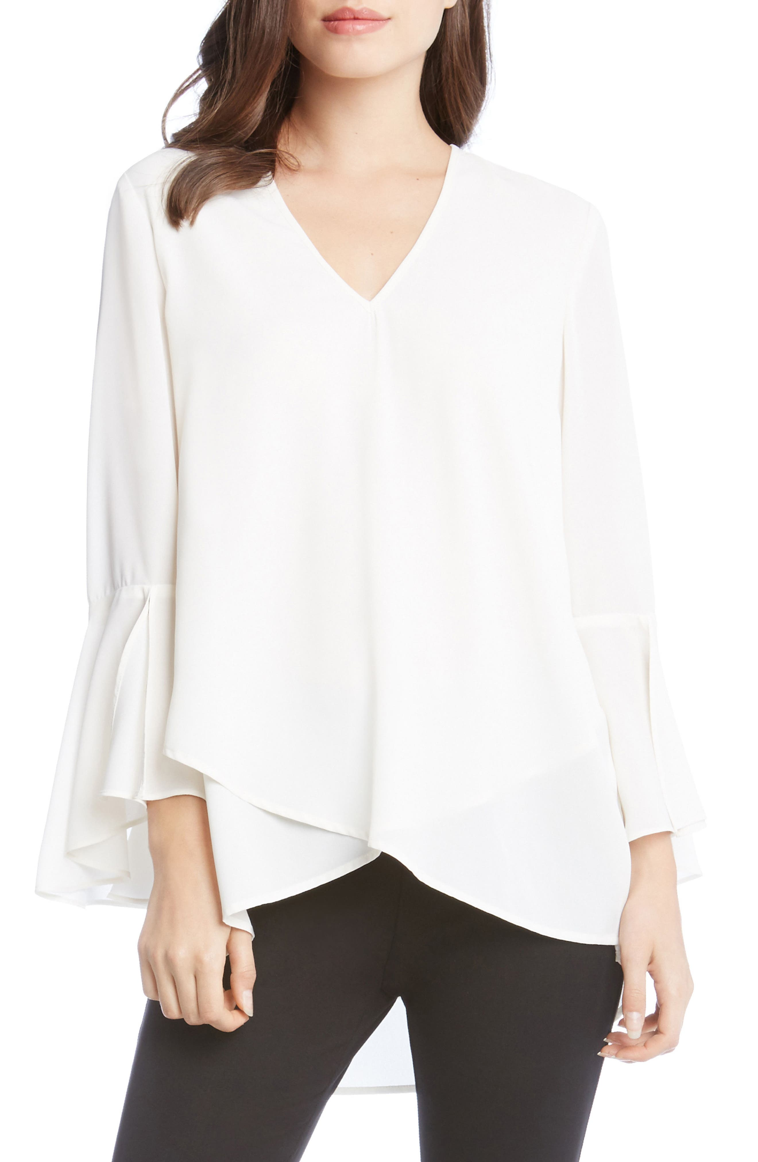 Slit Sleeve High/Low Top,                         Main,                         color, Cream