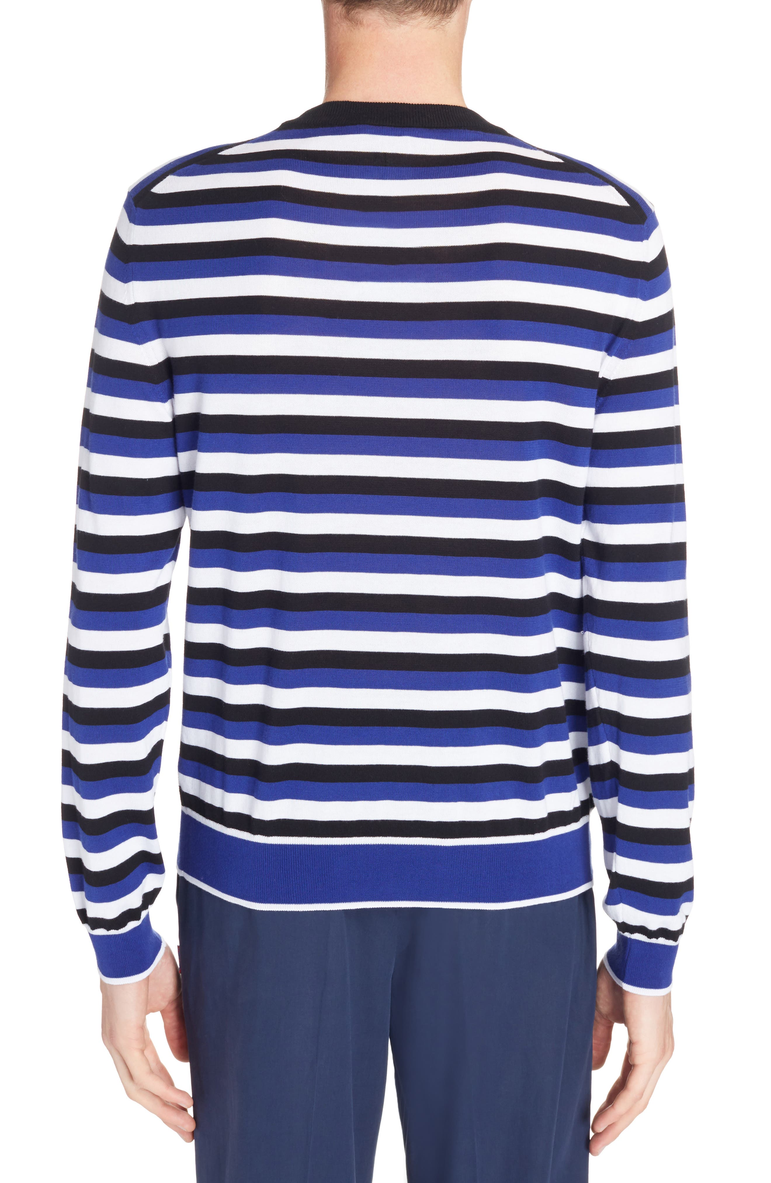 Large K Stripe Sweater,                             Alternate thumbnail 2, color,                             French Blue