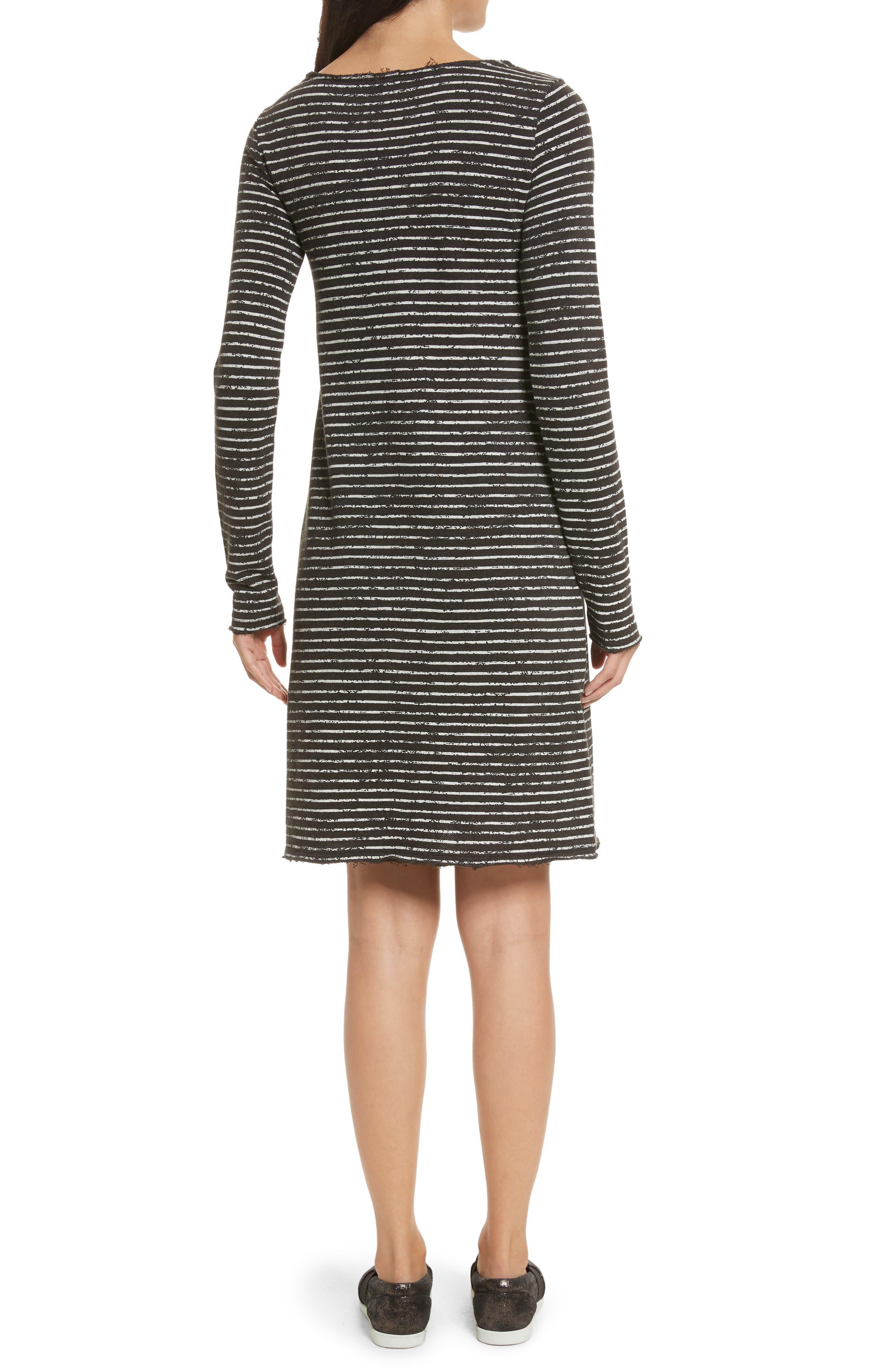 Broken Stripe French Terry Dress,                             Alternate thumbnail 2, color,                             Charcoal Combo Stripe