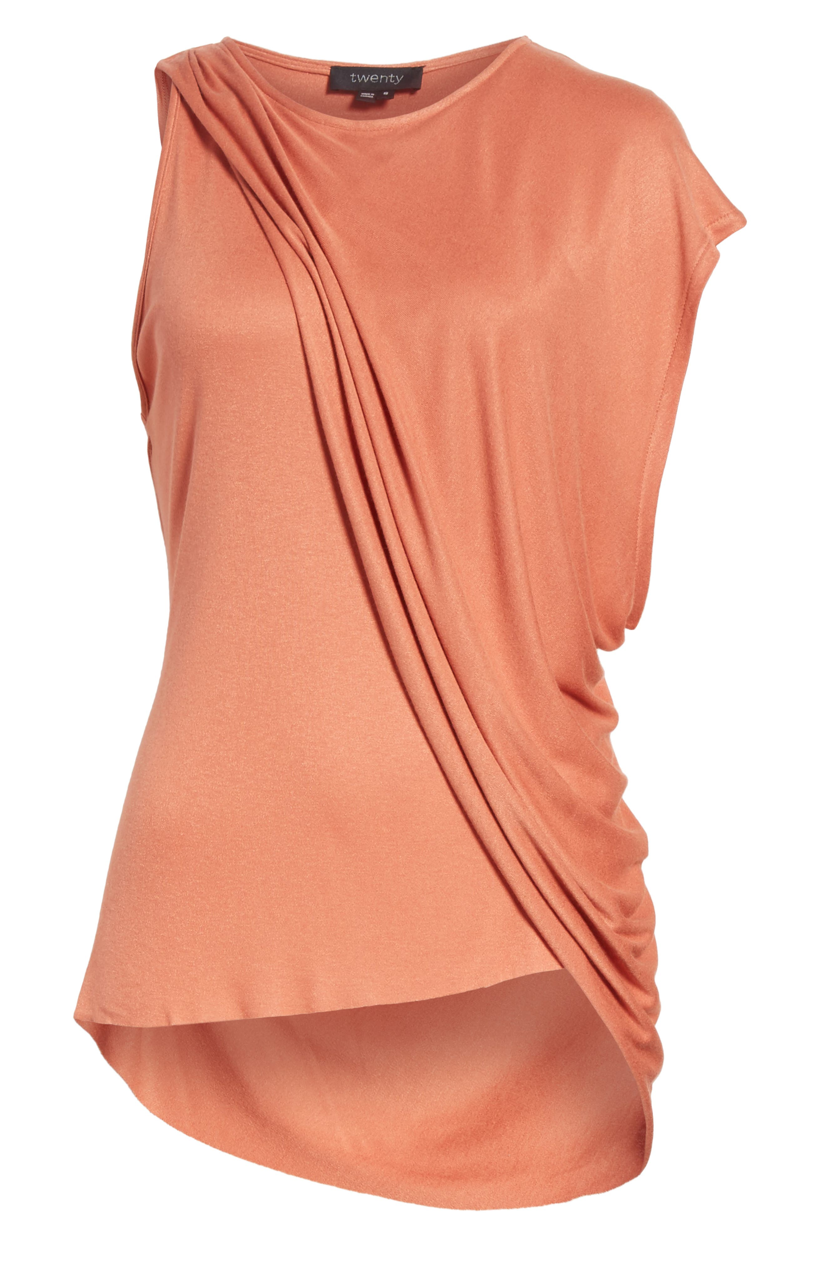 Willow Shine One-Shoulder Draped Jersey Tee,                             Alternate thumbnail 6, color,                             Terracotta