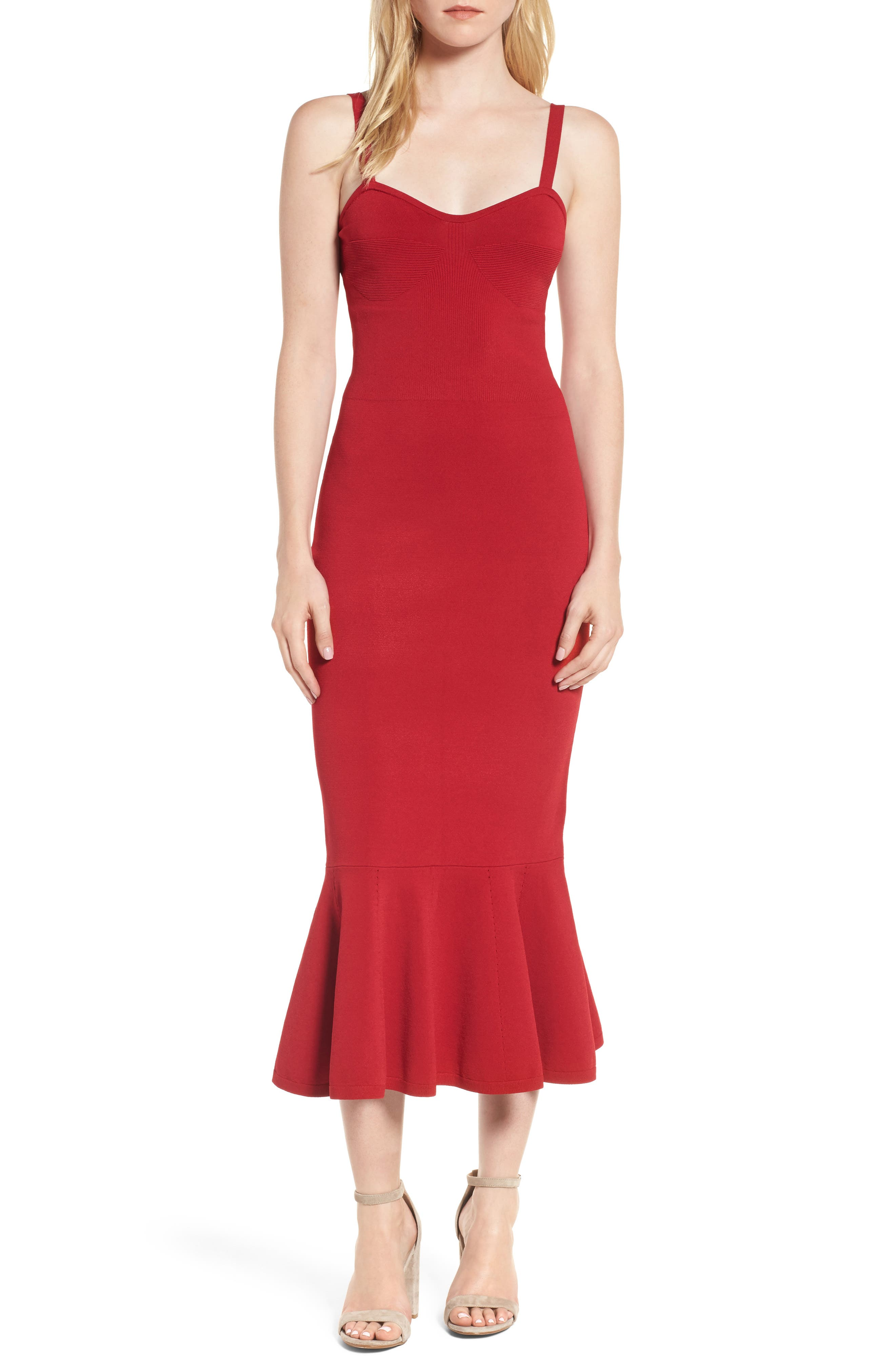 Ribbed Mermaid Dress,                         Main,                         color, Red Jester