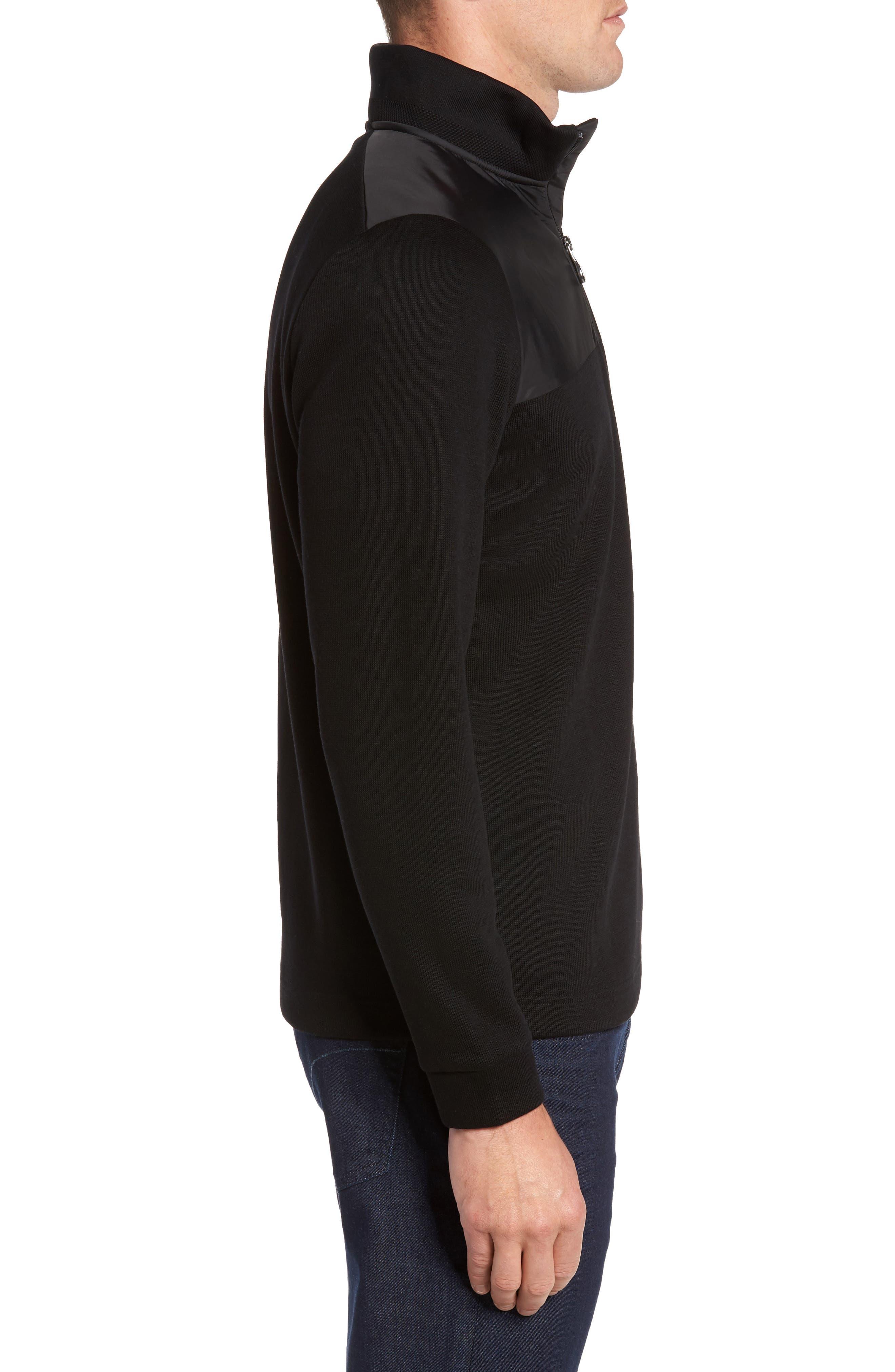 C-Piceno Quarter Zip Fleece Pullover,                             Alternate thumbnail 3, color,                             Black