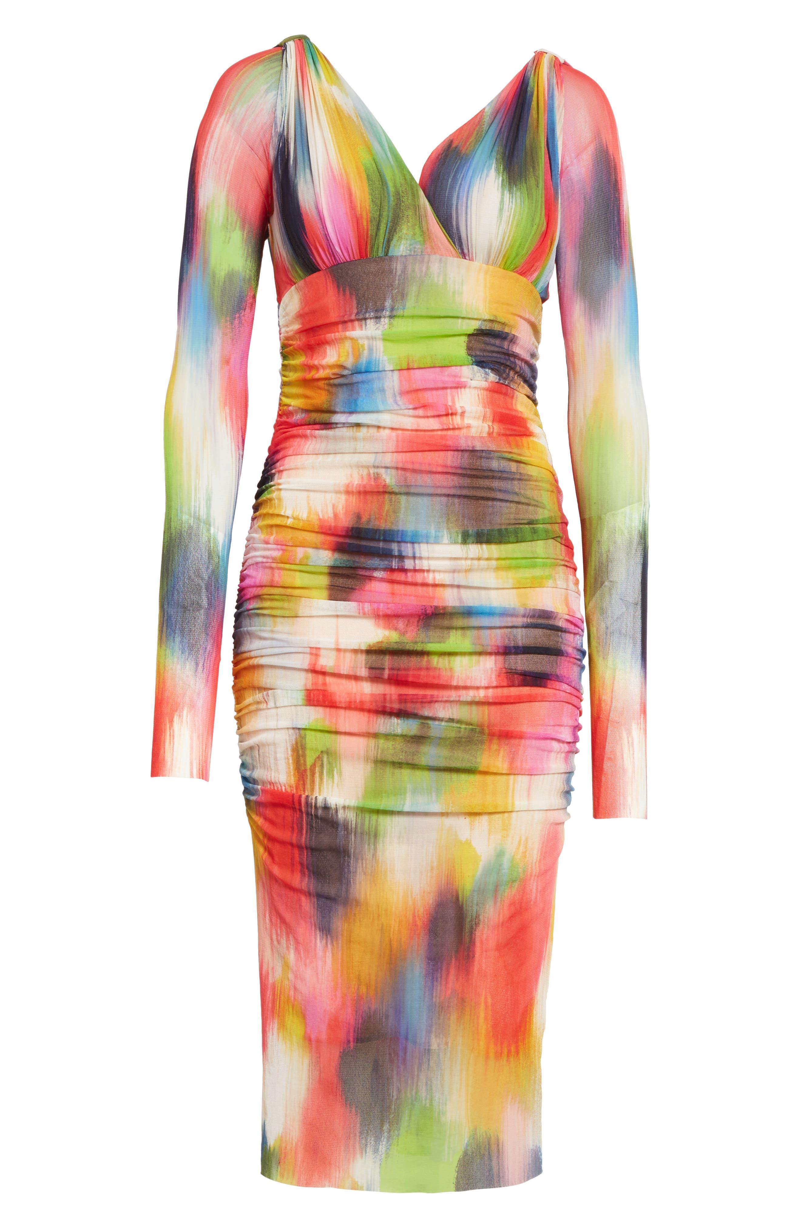 Alternate Image 6  - Fuzzi Brushstroke Print Tulle Ruched Dress