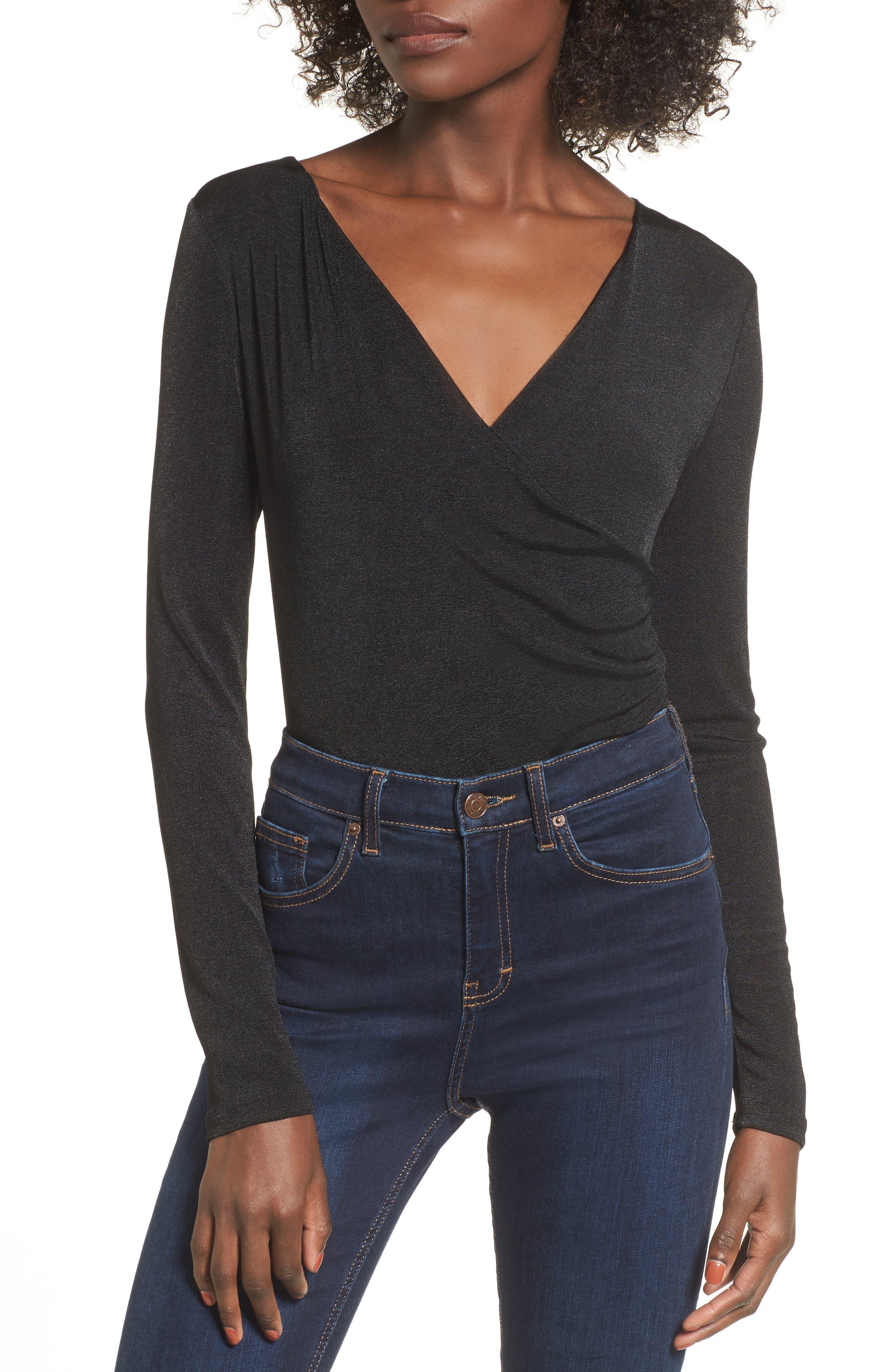 Surplice Bodysuit,                         Main,                         color, Black