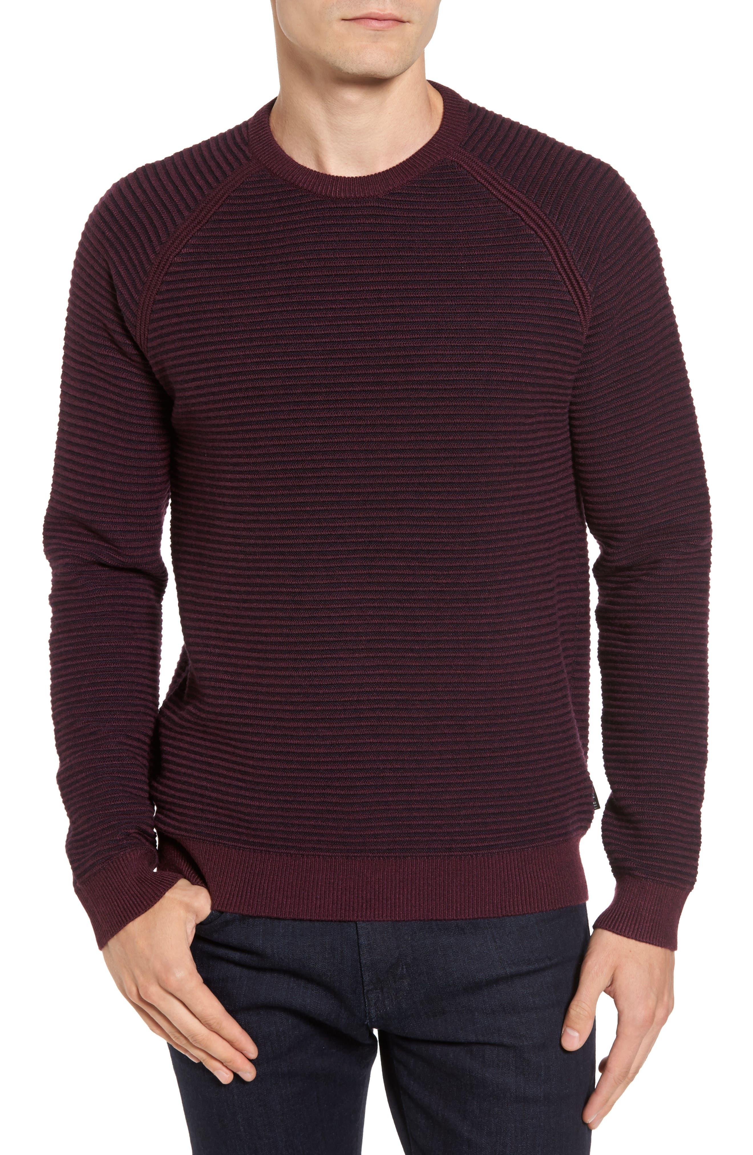 Cashoo Slim Fit Ribbed Sweatshirt,                         Main,                         color, Purple