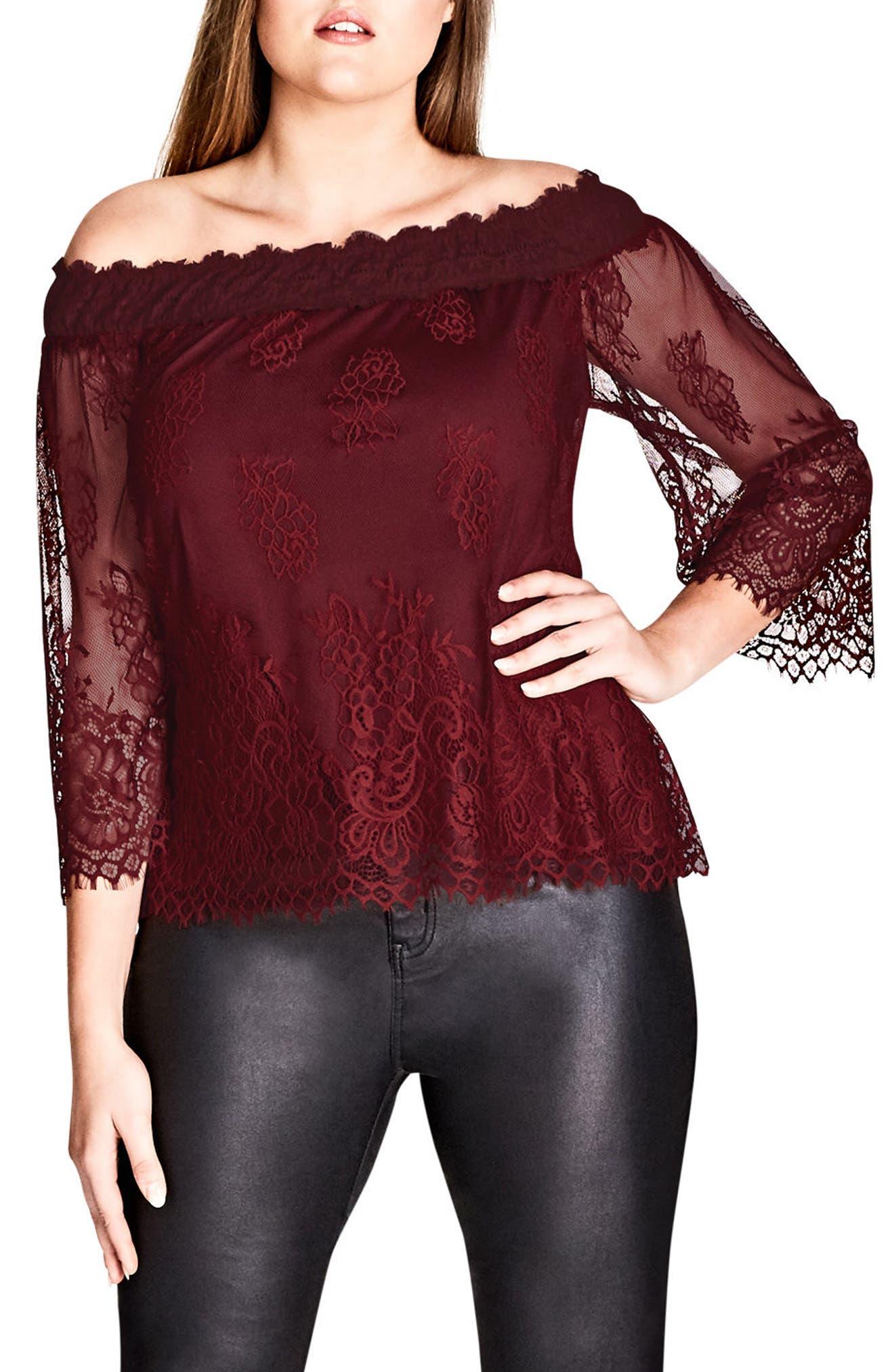 Soft Lace Off the Shoulder Top,                         Main,                         color, Wine