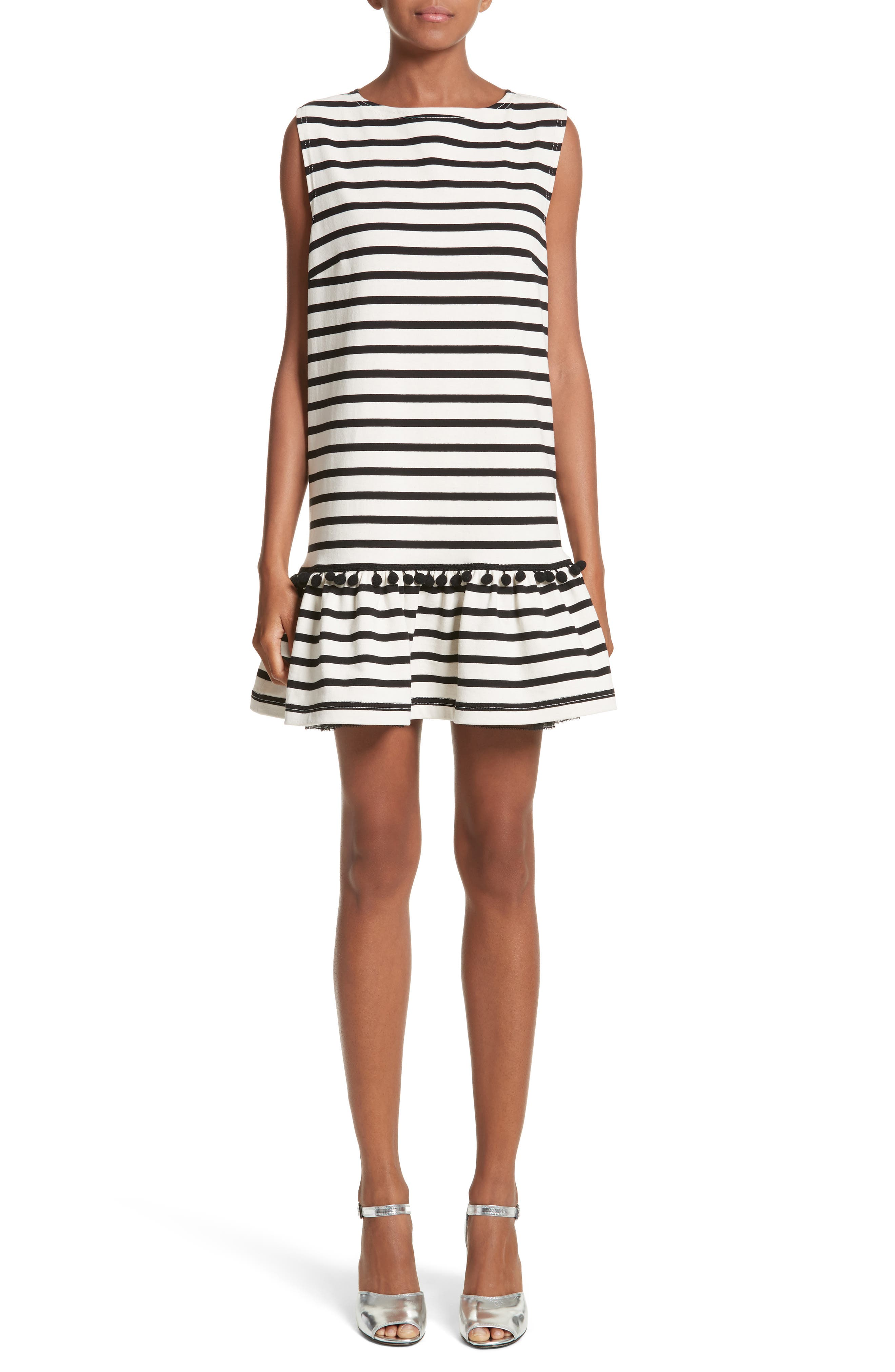 Pompom Stripe Drop Waist Dress,                             Main thumbnail 1, color,                             Ecru/ Black