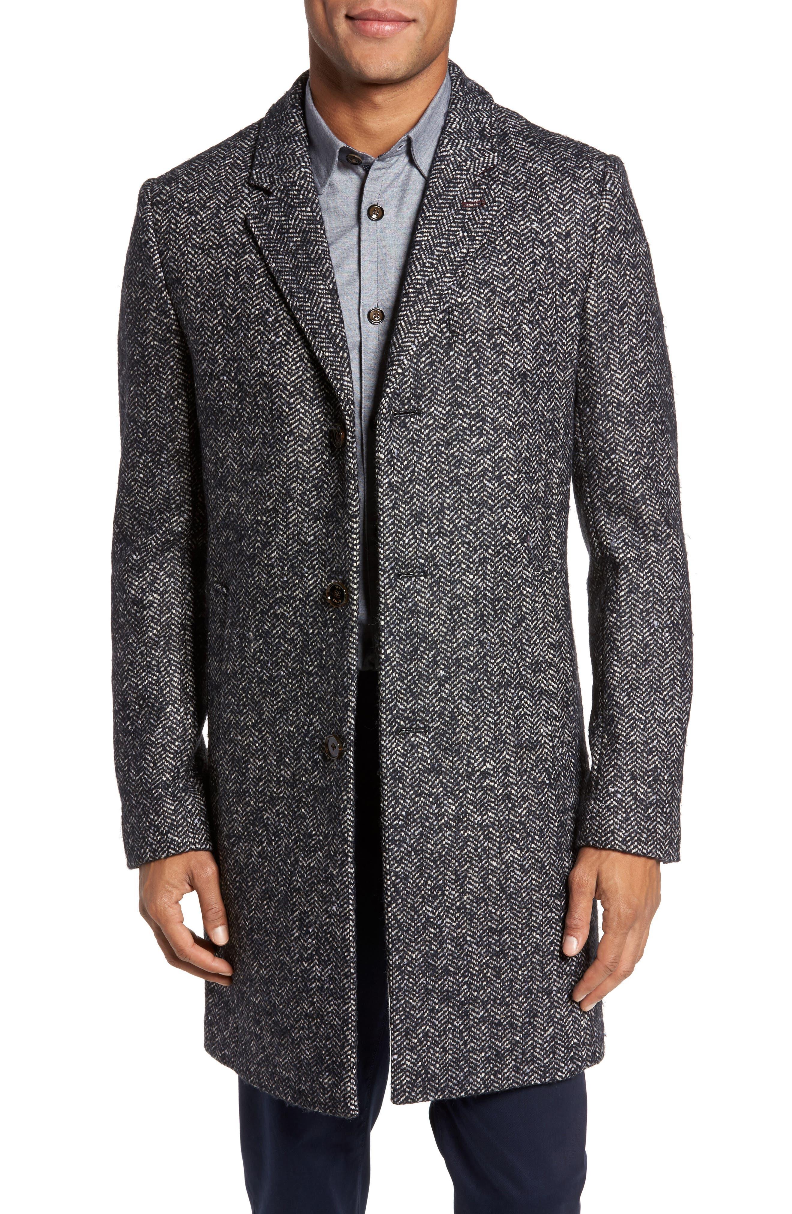Bouclé Herringbone Topcoat,                         Main,                         color, Navy