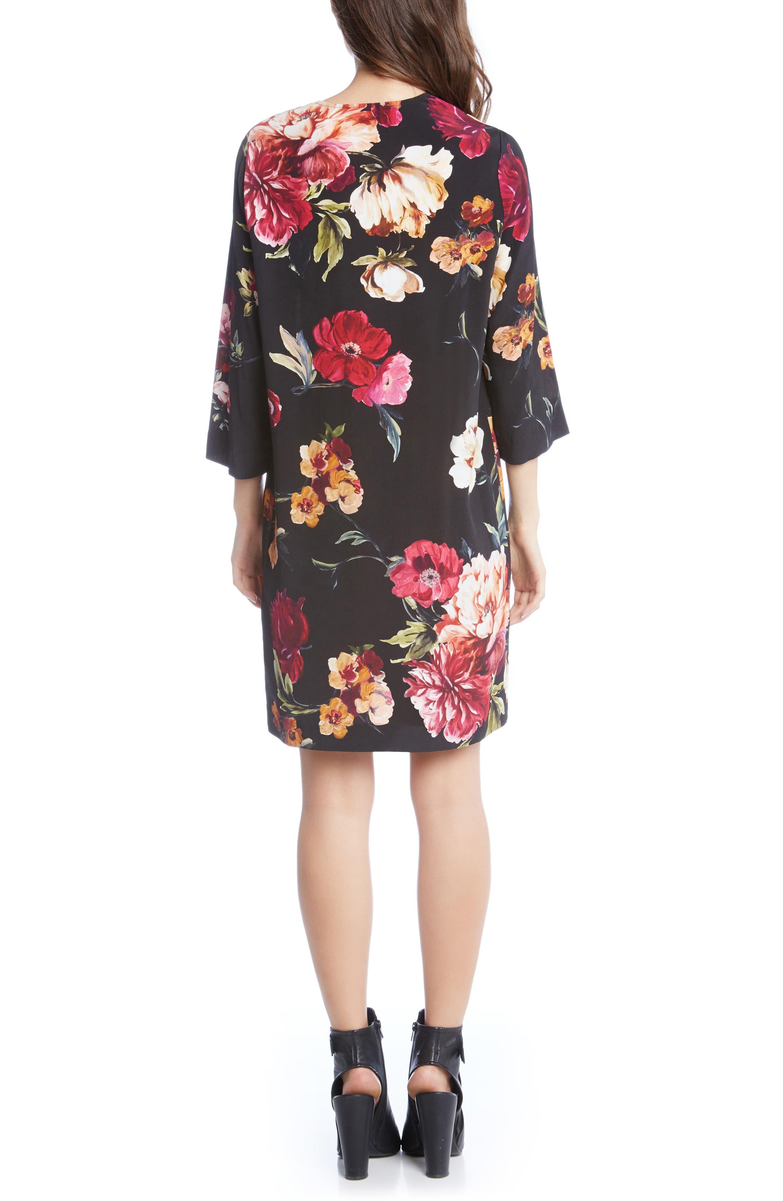 Floral Lace-Up Shift Dress,                             Alternate thumbnail 2, color,                             Print