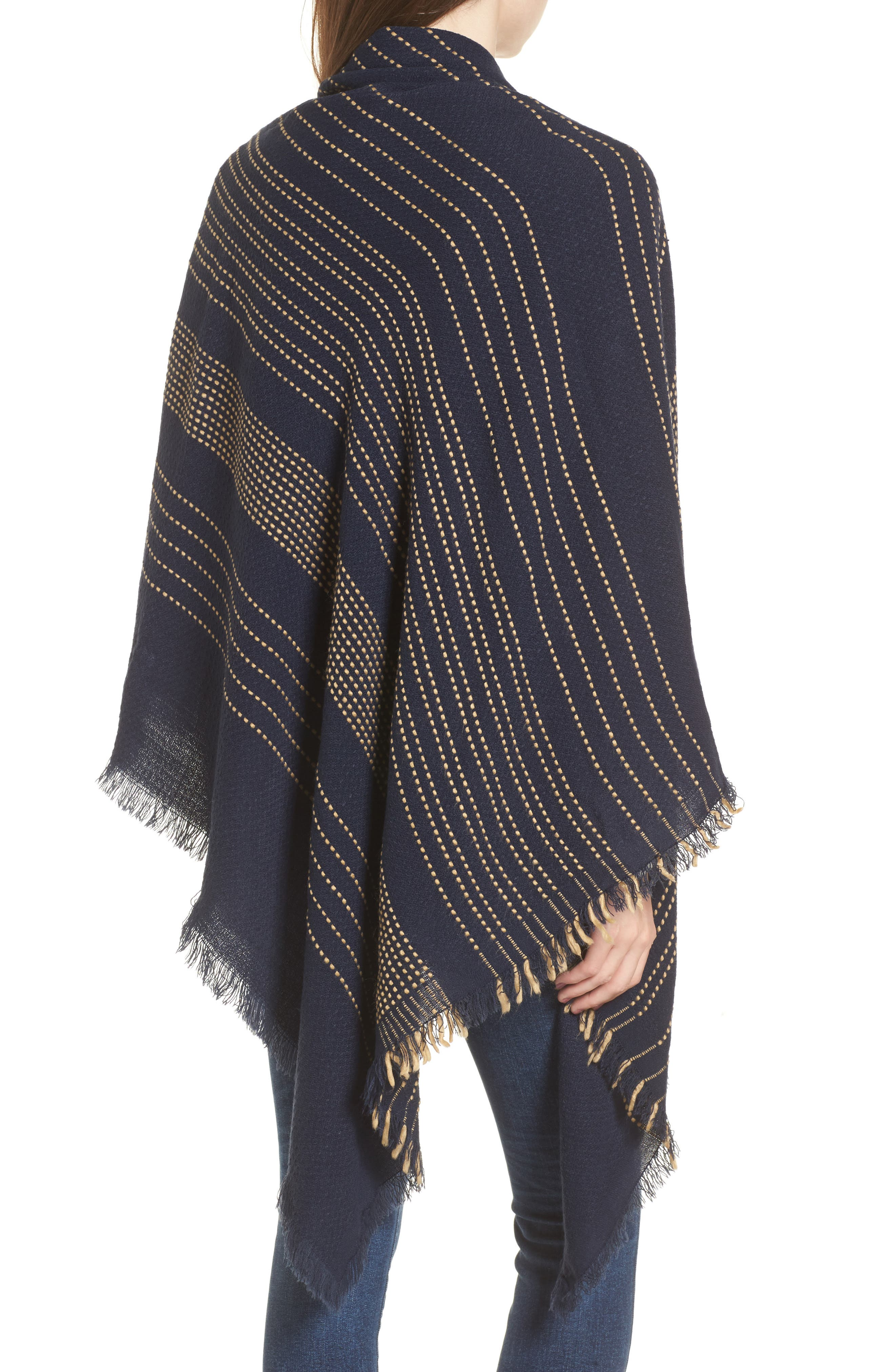 Textured Stripe Blanket Scarf,                             Alternate thumbnail 2, color,                             Navy