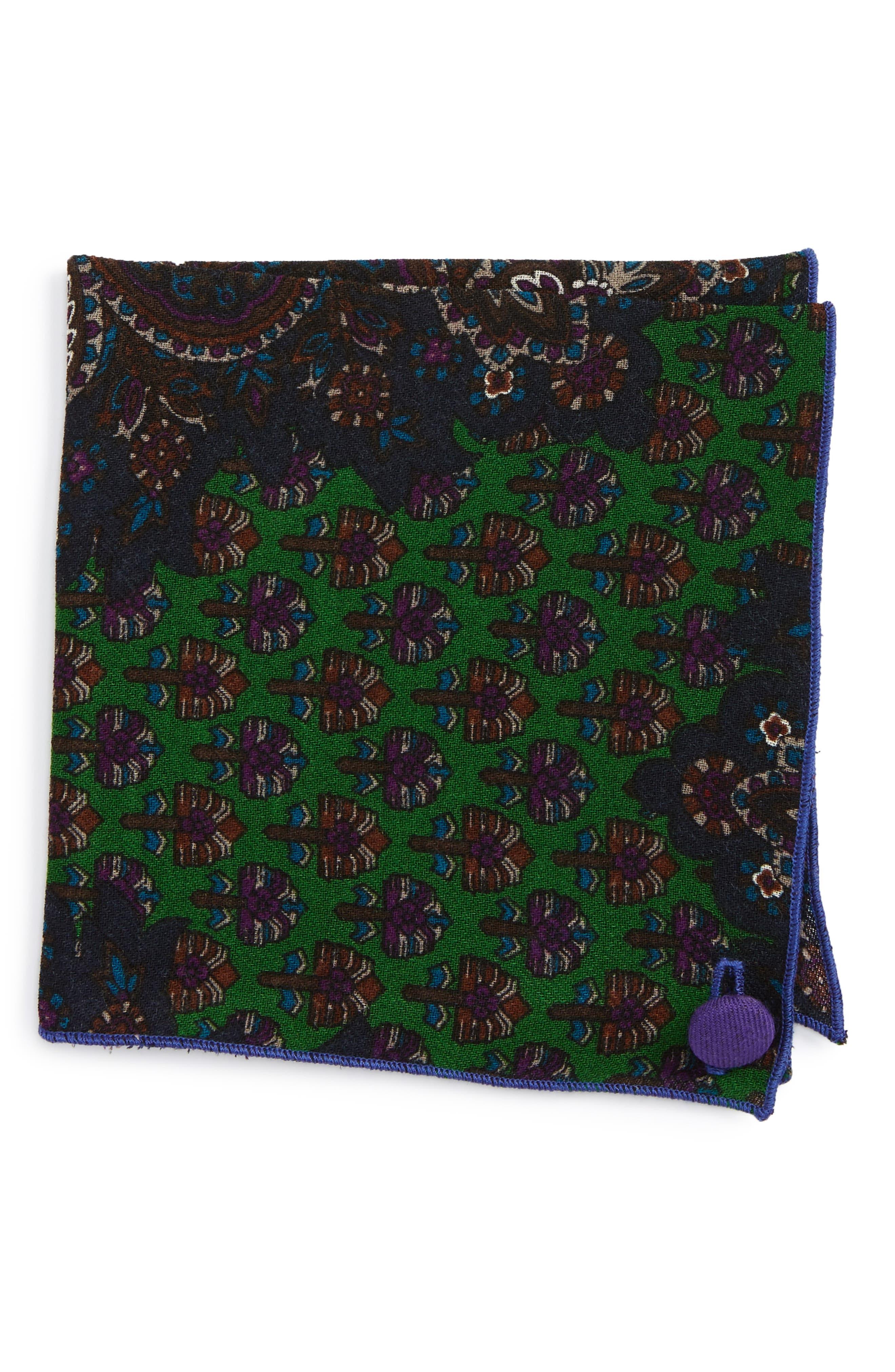 Paisley Wool Pocket Square,                         Main,                         color, Purple