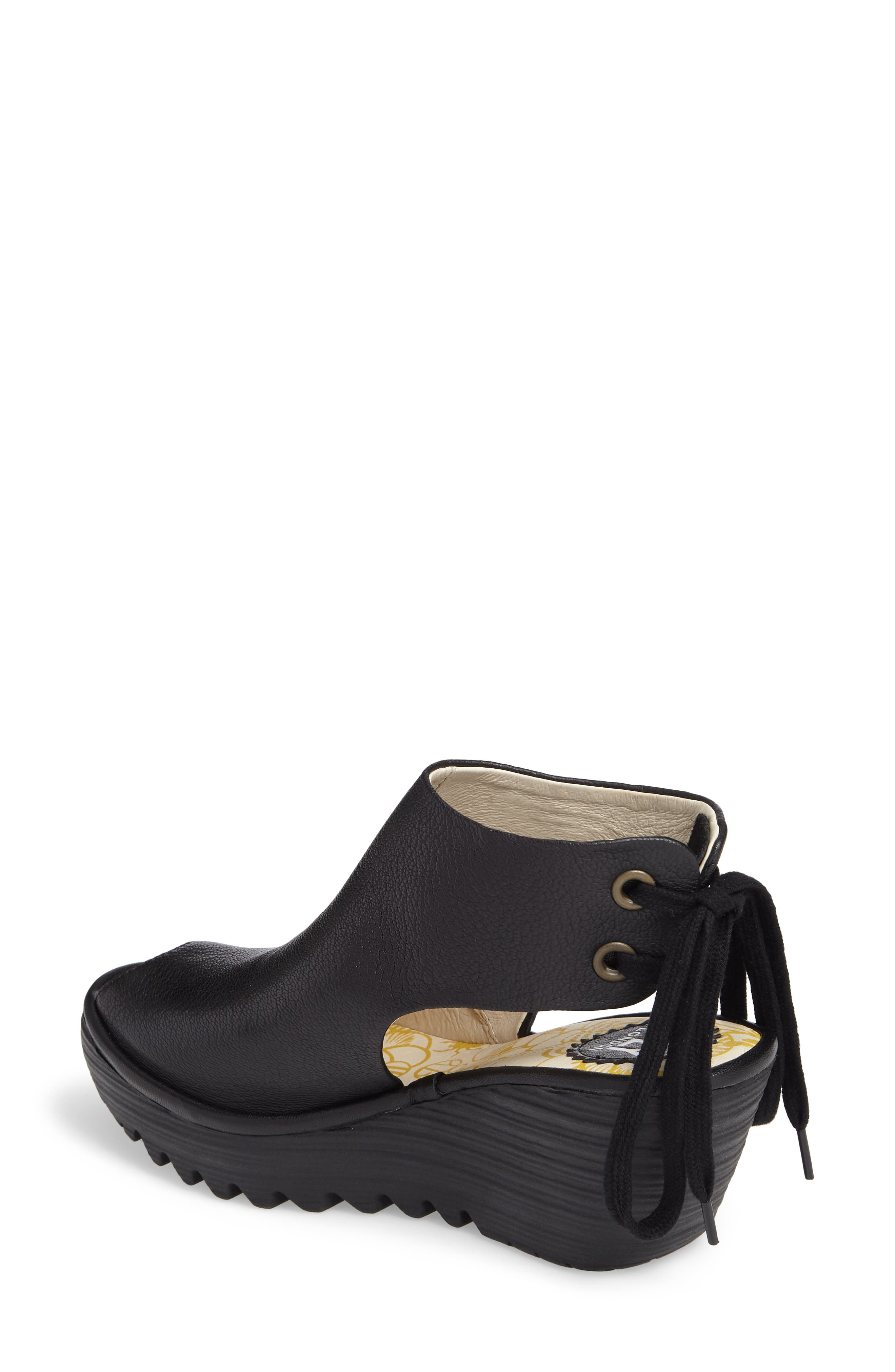Yuzu Wedge Sandal,                             Alternate thumbnail 2, color,                             Black Mousse Leather