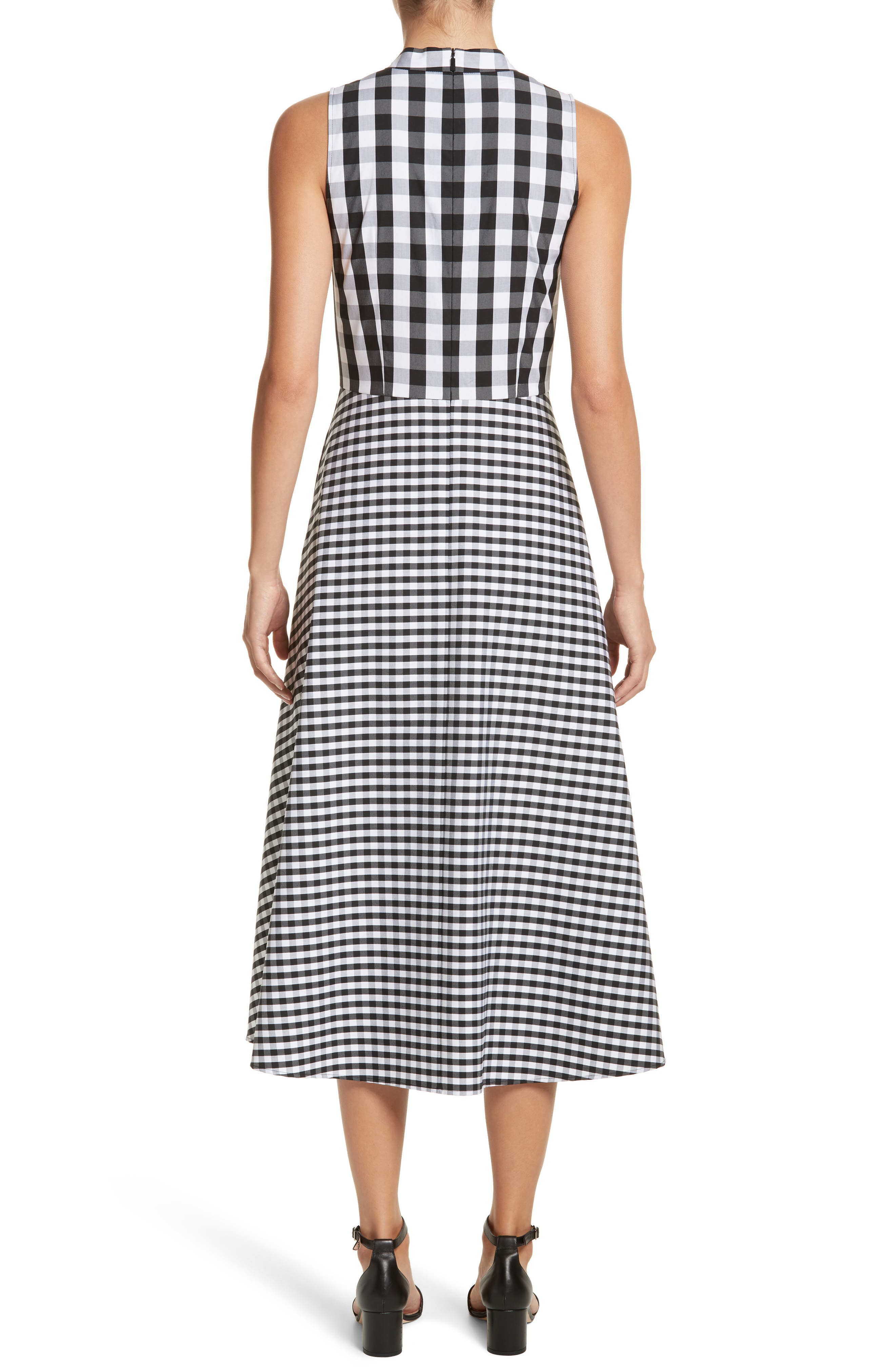 Adina Gingham Midi Dress,                             Alternate thumbnail 2, color,                             Black Multi