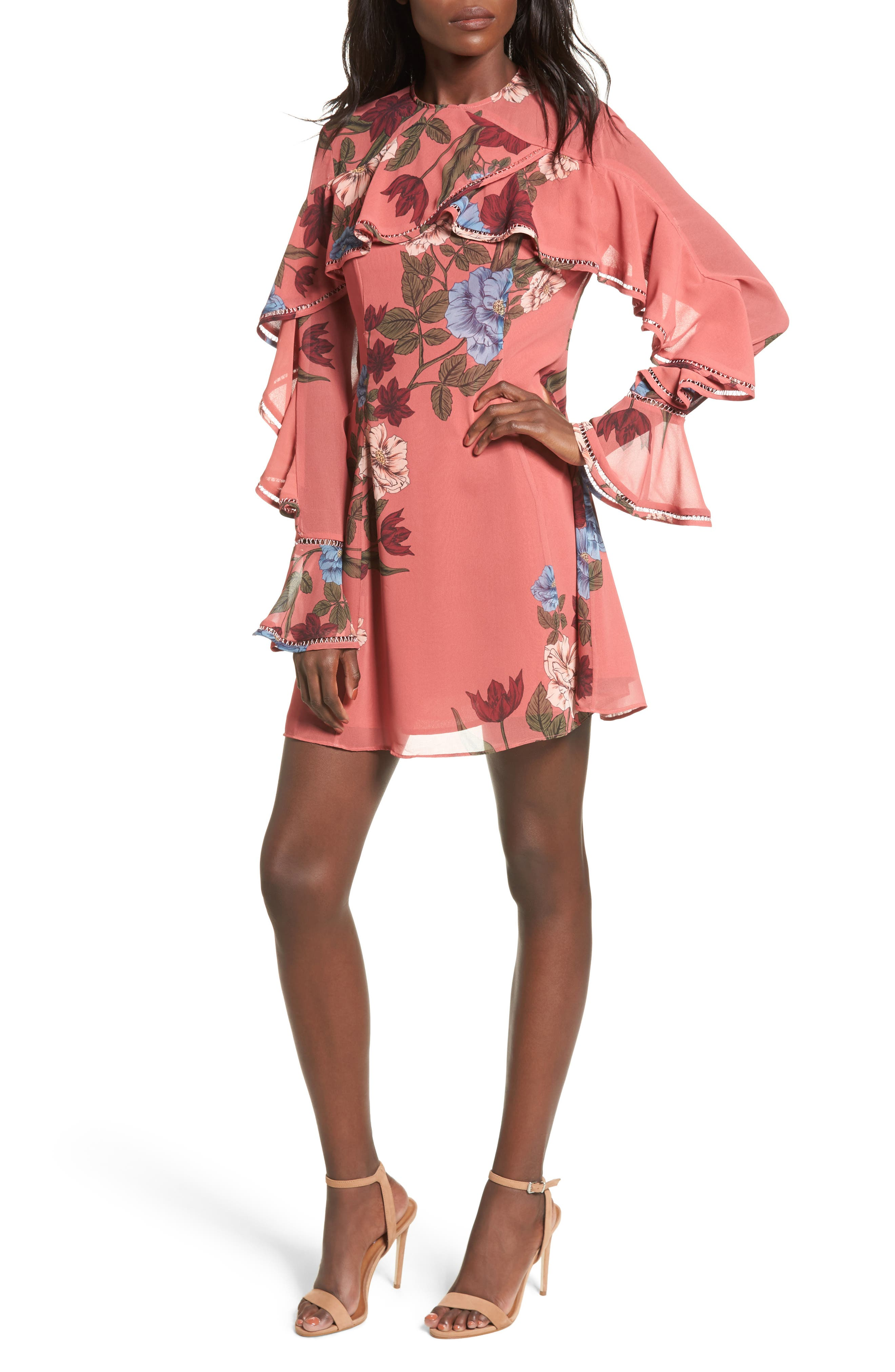 Night Lights Ruffle A-Line Dress,                         Main,                         color, Spice Floral