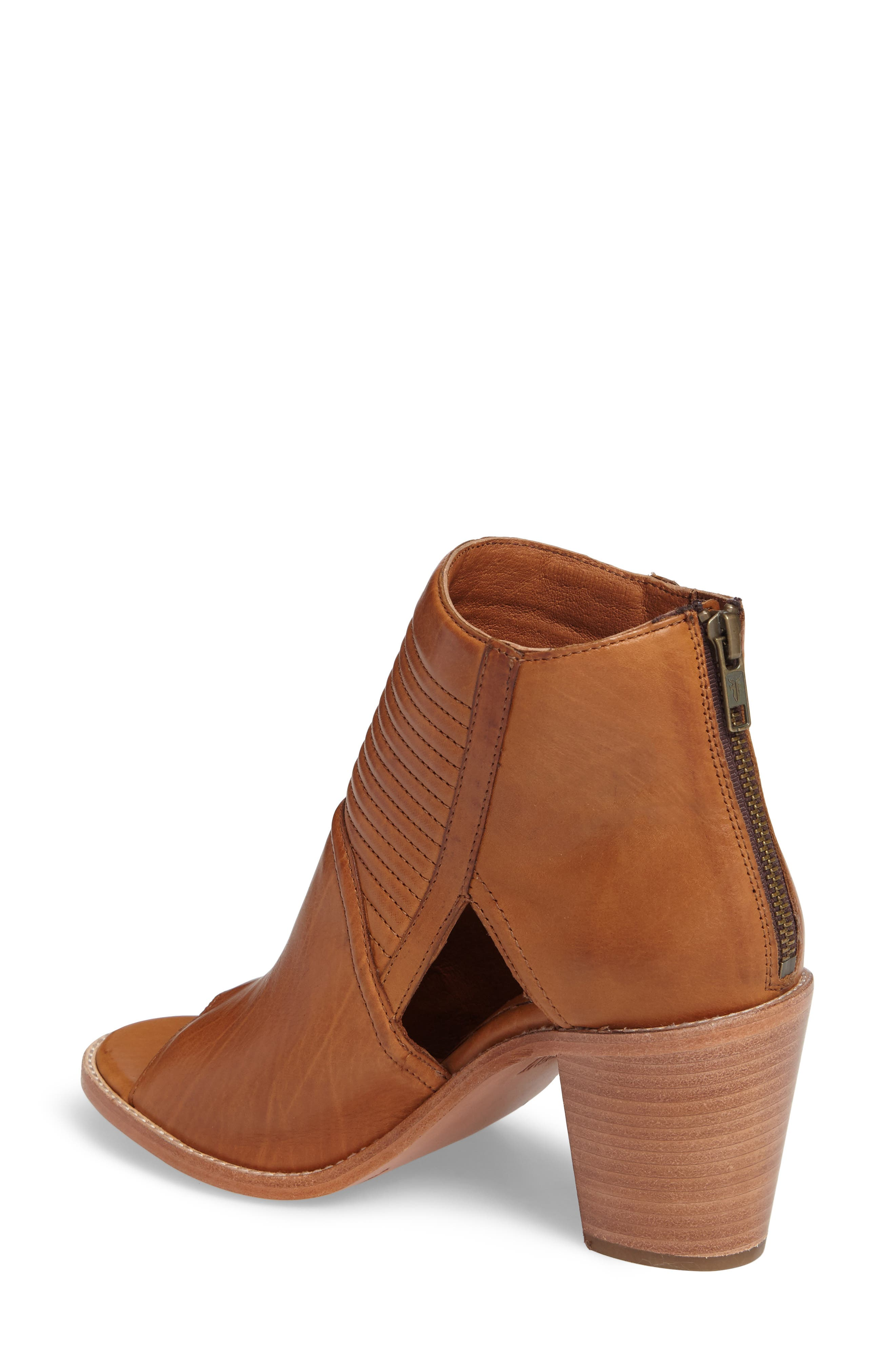 Bailey Quilted Peep Toe Bootie,                             Alternate thumbnail 2, color,                             Cognac