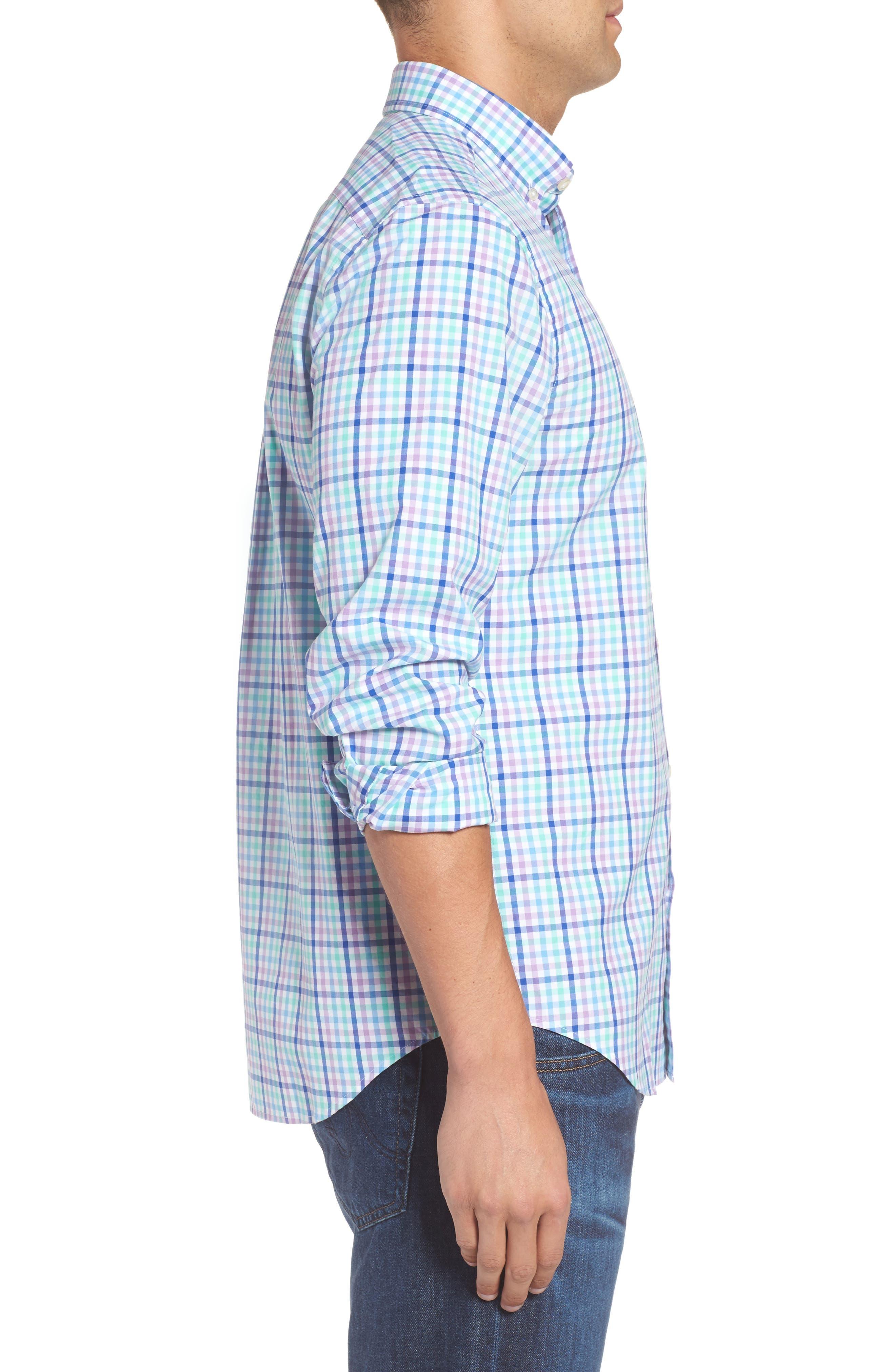 Tucker Gaspar Classic Fit Gingham Sport Shirt,                             Alternate thumbnail 3, color,                             Antigua Green