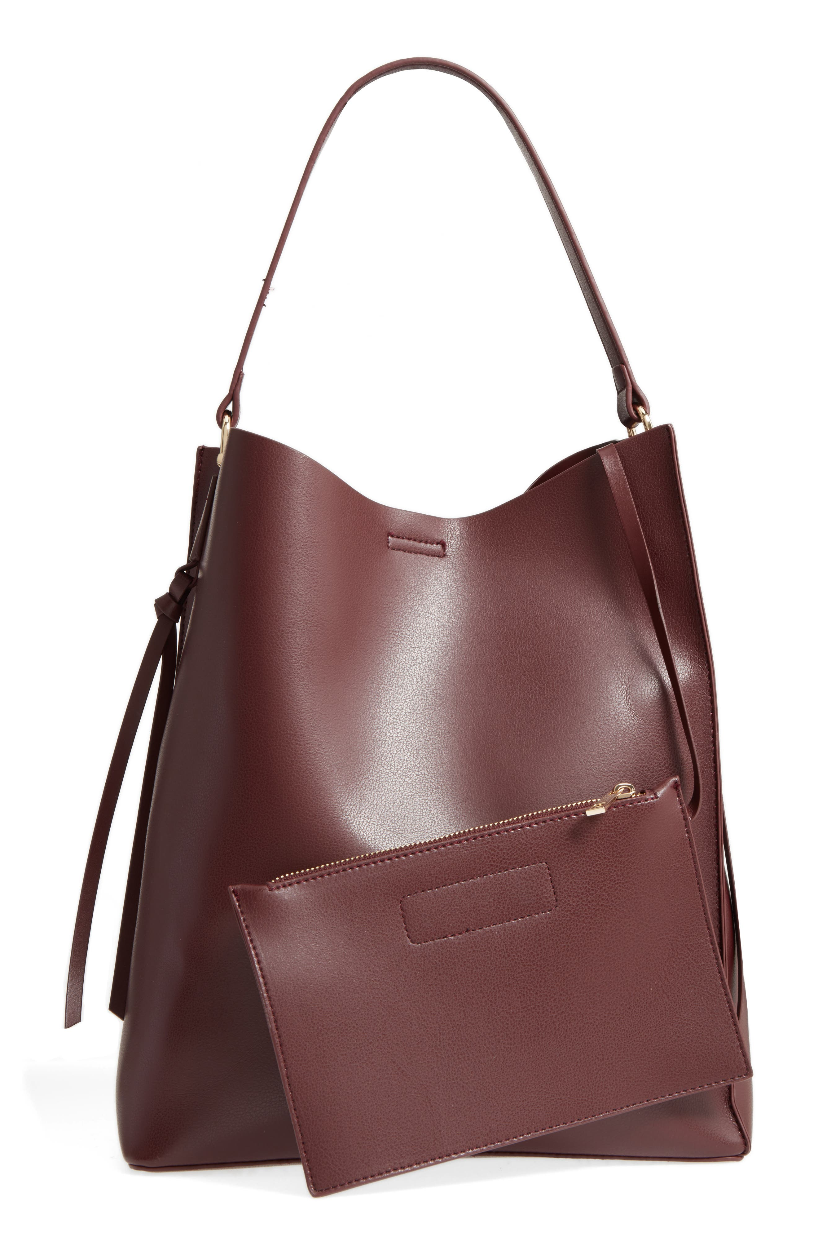 Prima Faux Leather Bucket Bag & Zip Pouch,                             Alternate thumbnail 2, color,                             Oxblood