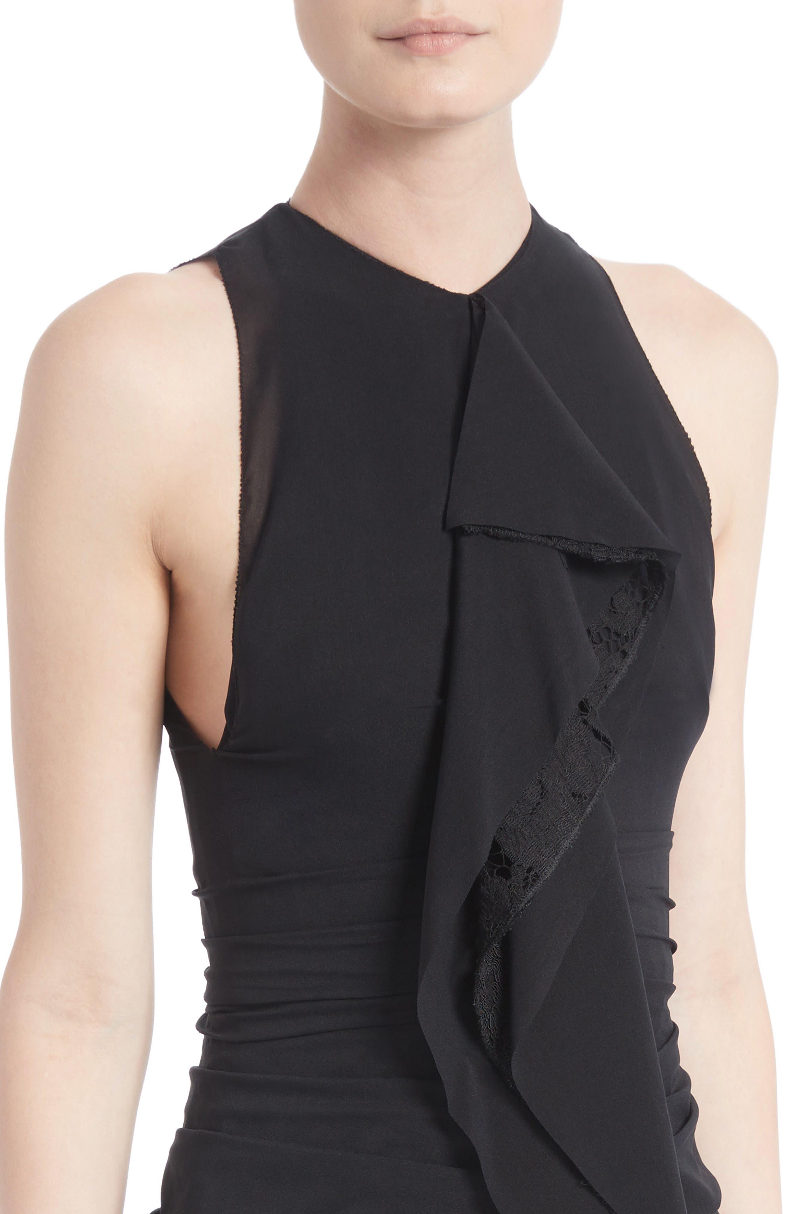 Ruffle Front Corded Lace Hem Dress,                             Alternate thumbnail 4, color,                             Black