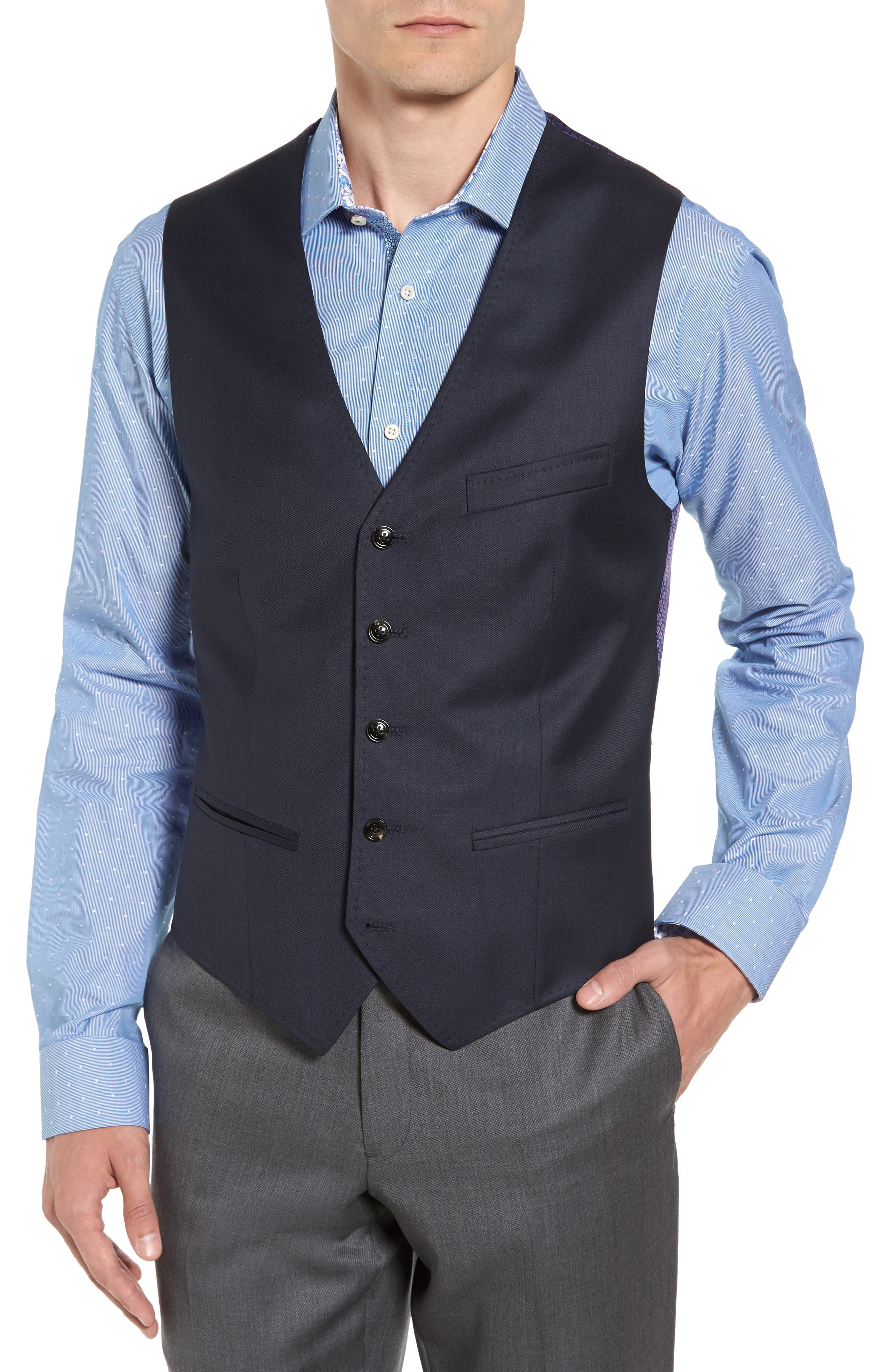Troy Trim Fit Solid Wool Vest,                         Main,                         color, Old Blue