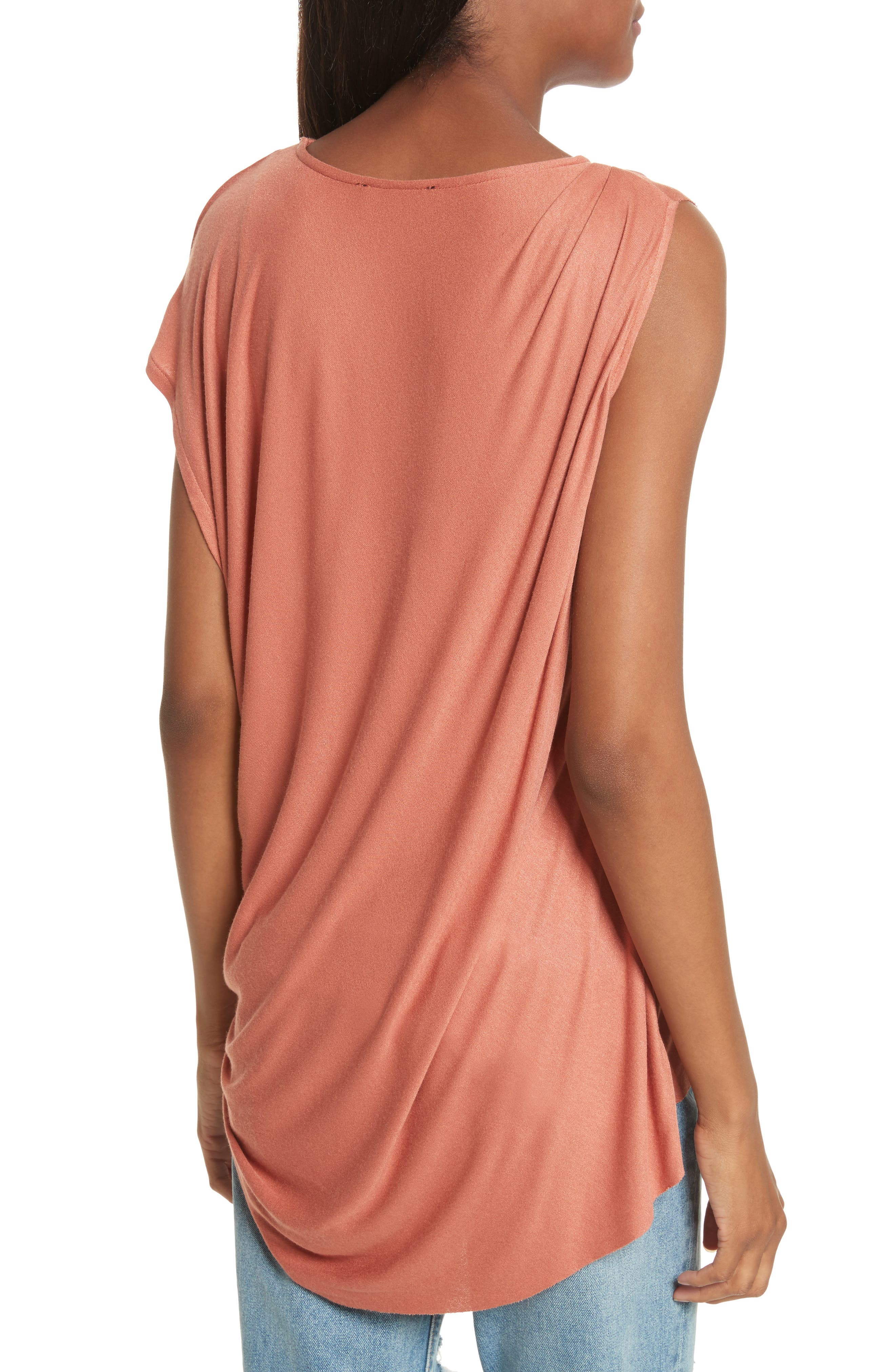 Willow Shine One-Shoulder Draped Jersey Tee,                             Alternate thumbnail 2, color,                             Terracotta